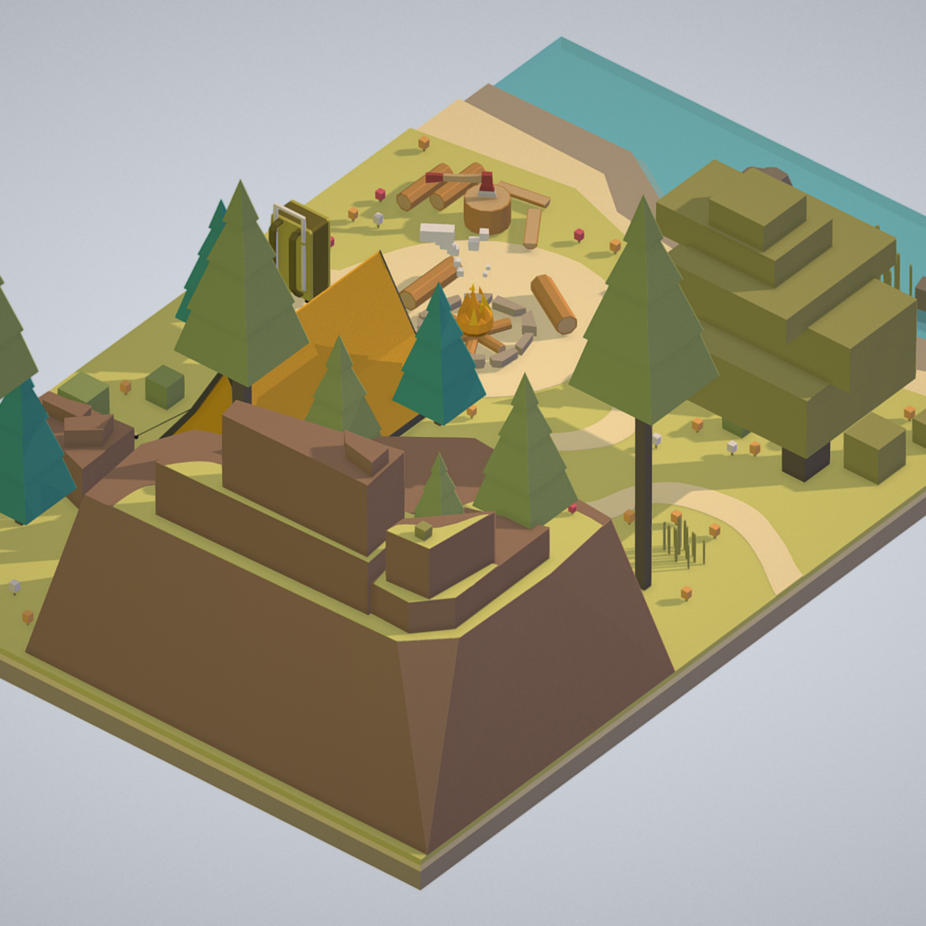 isometric campsite near a river mountain 3d model 3ds max fbx ma mb png obj 271124