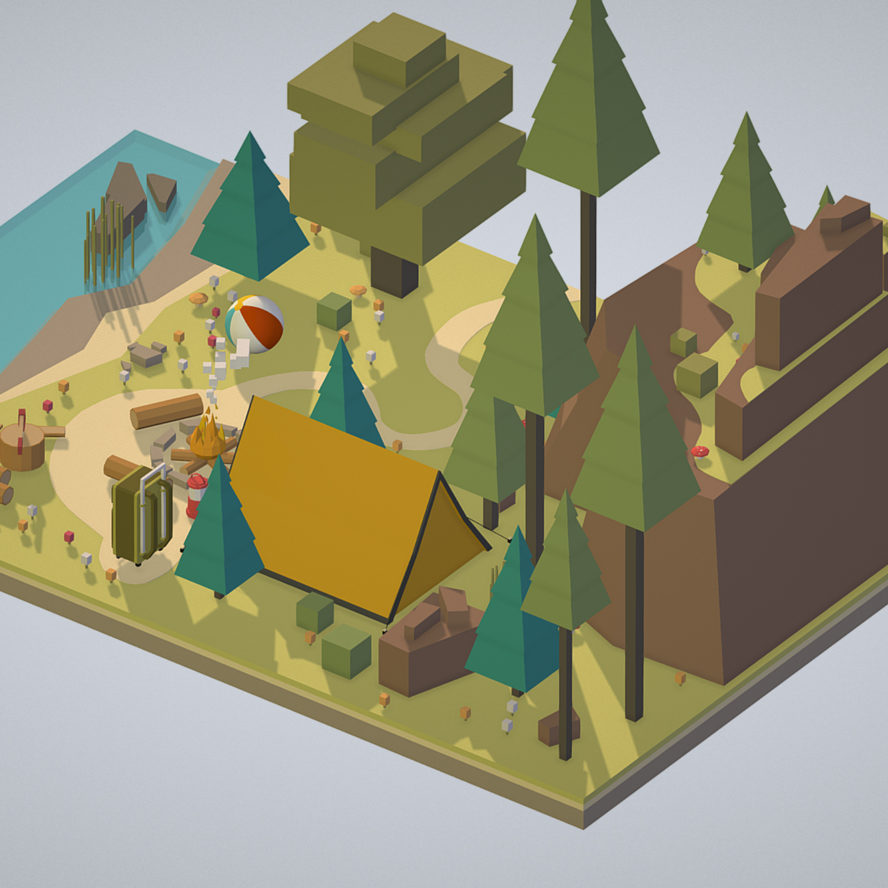 isometric campsite near a river mountain 3d model 3ds max fbx ma mb png obj 271126