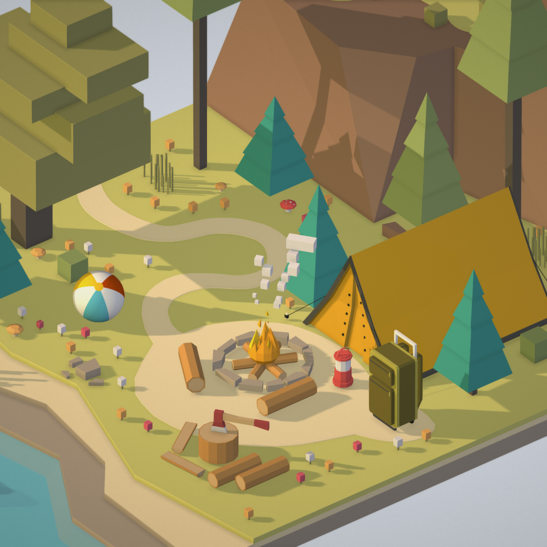 isometric campsite near a river mountain 3d model 3ds max fbx ma mb png obj 271127