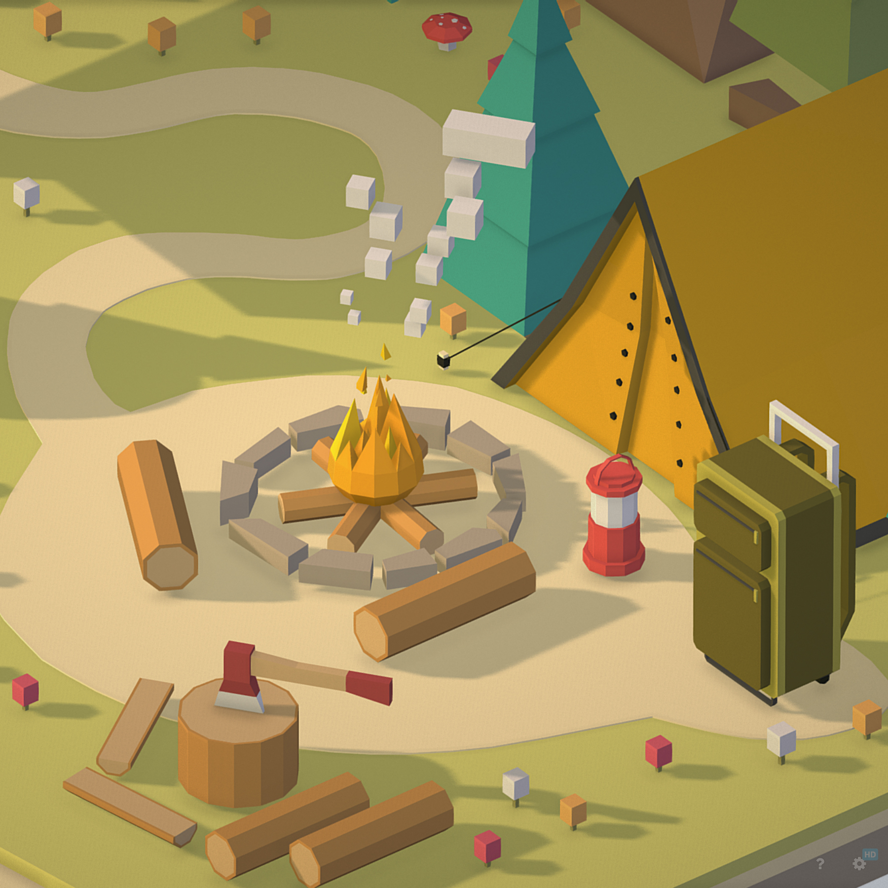 isometric campsite near a river mountain 3d model 3ds max fbx ma mb png obj 271128
