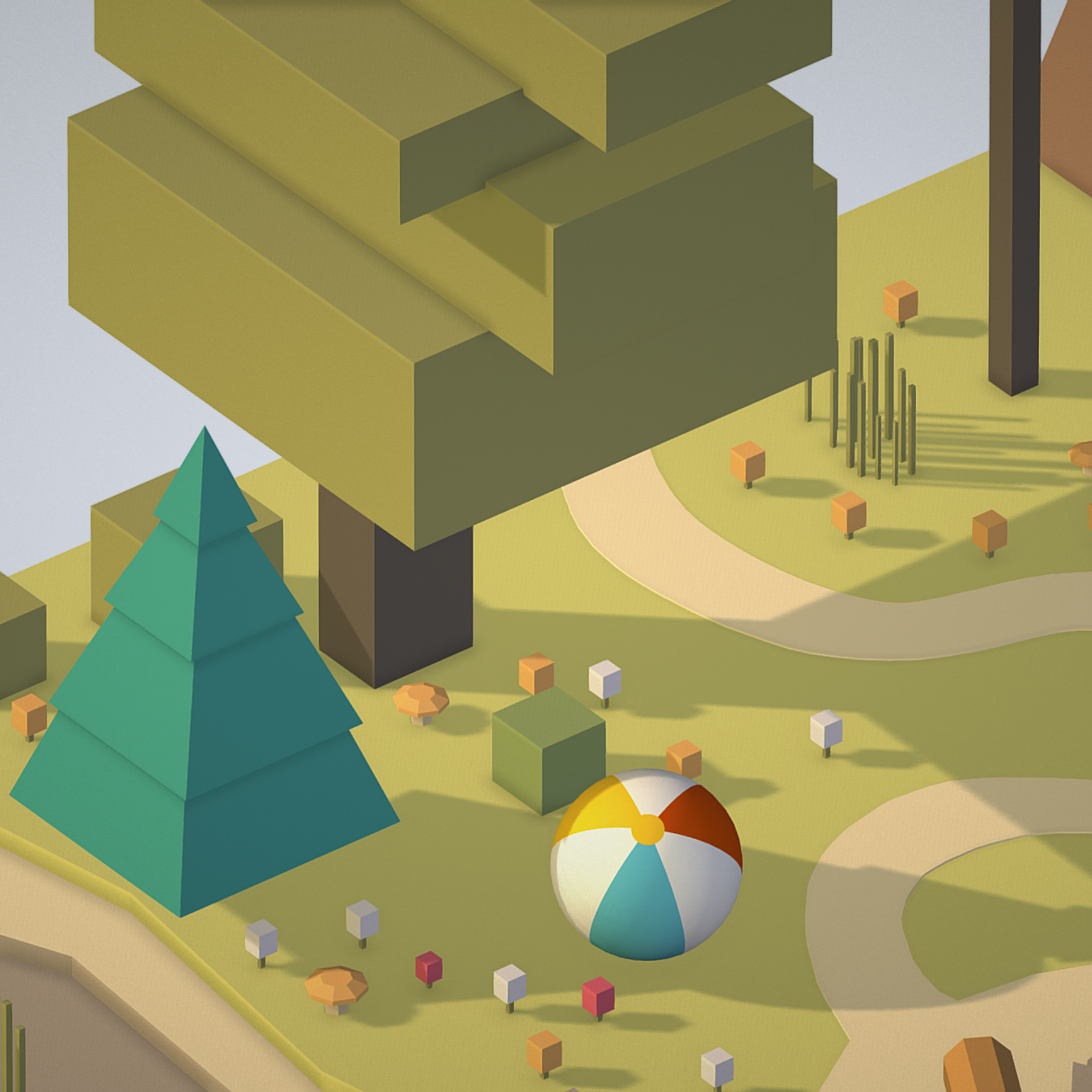 isometric campsite near a river mountain 3d model 3ds max fbx ma mb png obj 271129