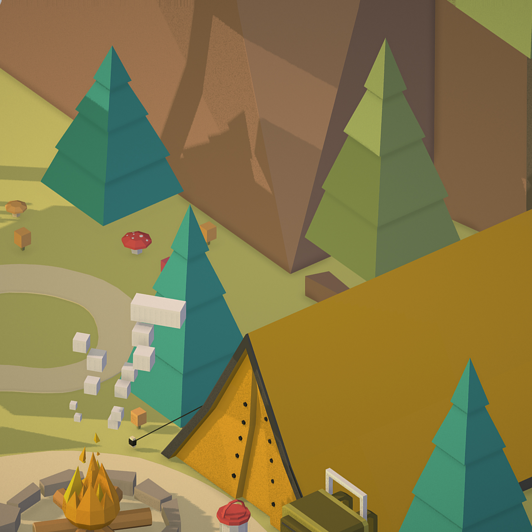 isometric campsite near a river mountain 3d model 3ds max fbx ma mb png obj 271130