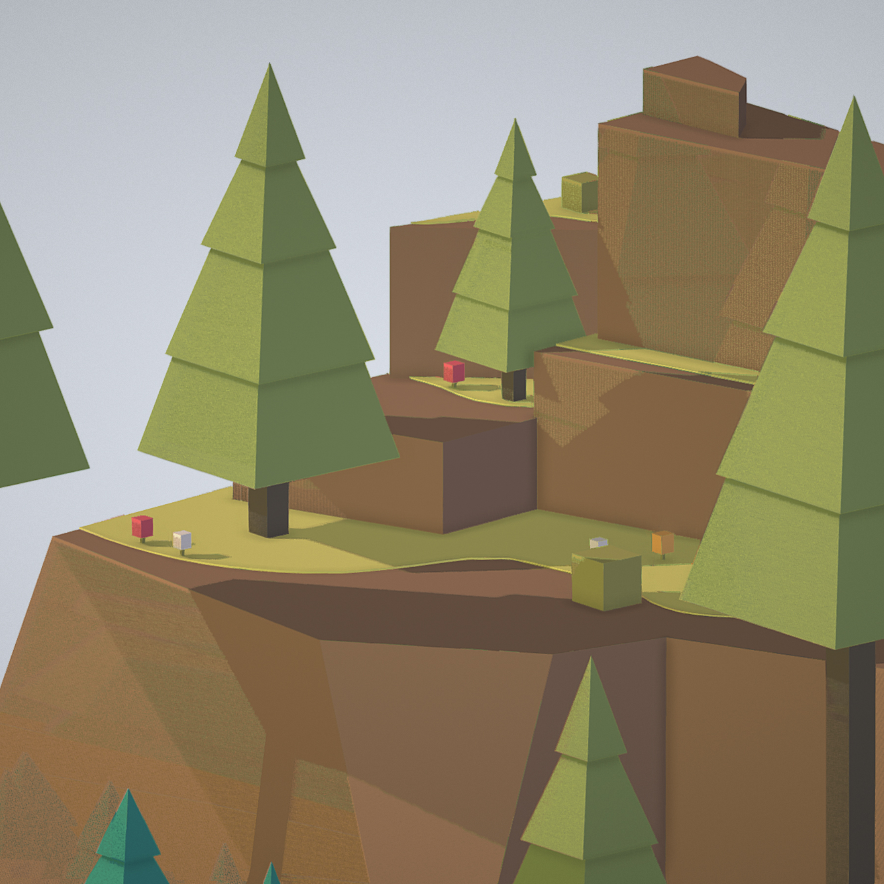 isometric campsite near a river mountain 3d model 3ds max fbx ma mb png obj 271131