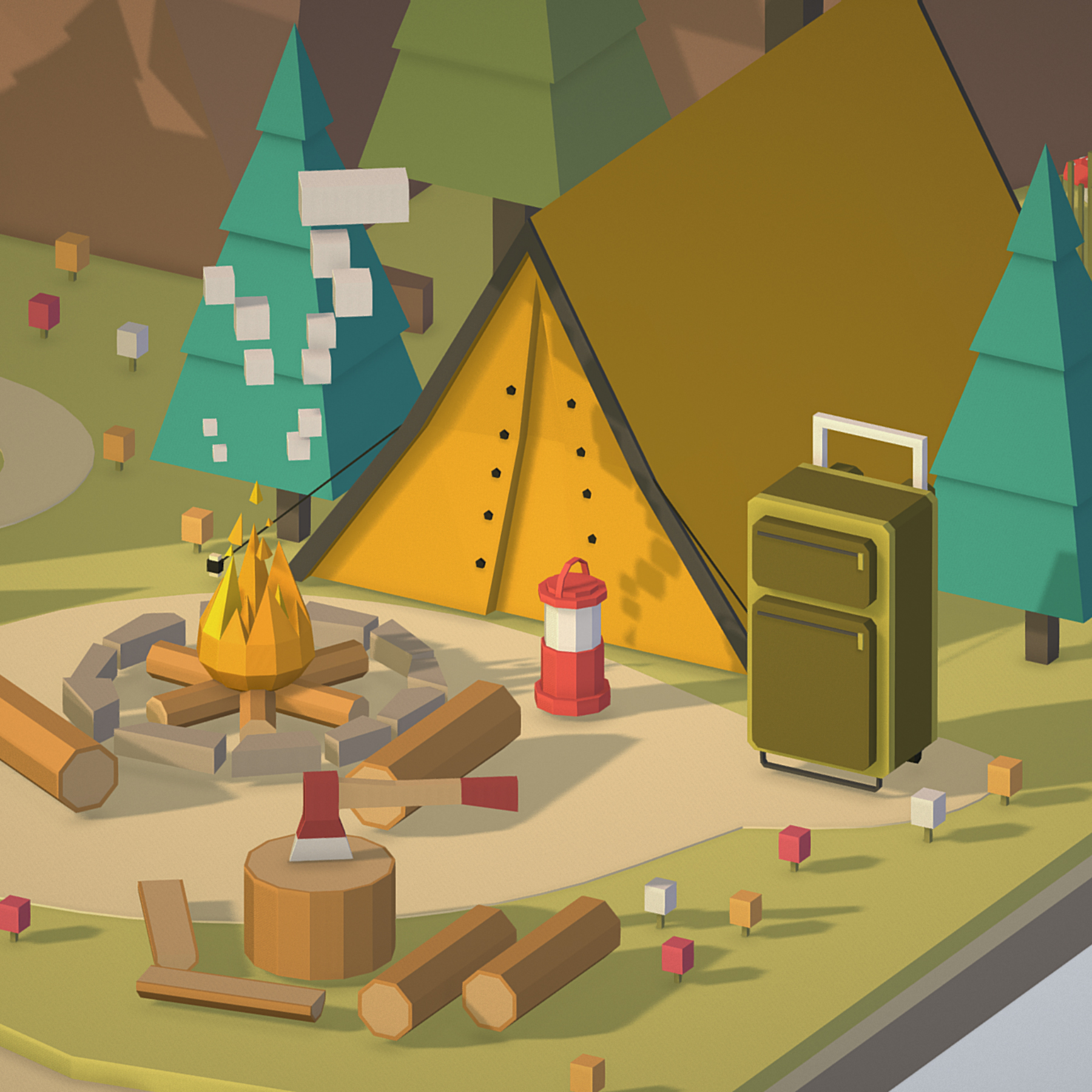 isometric campsite near a river mountain 3d model 3ds max fbx ma mb png obj 271132