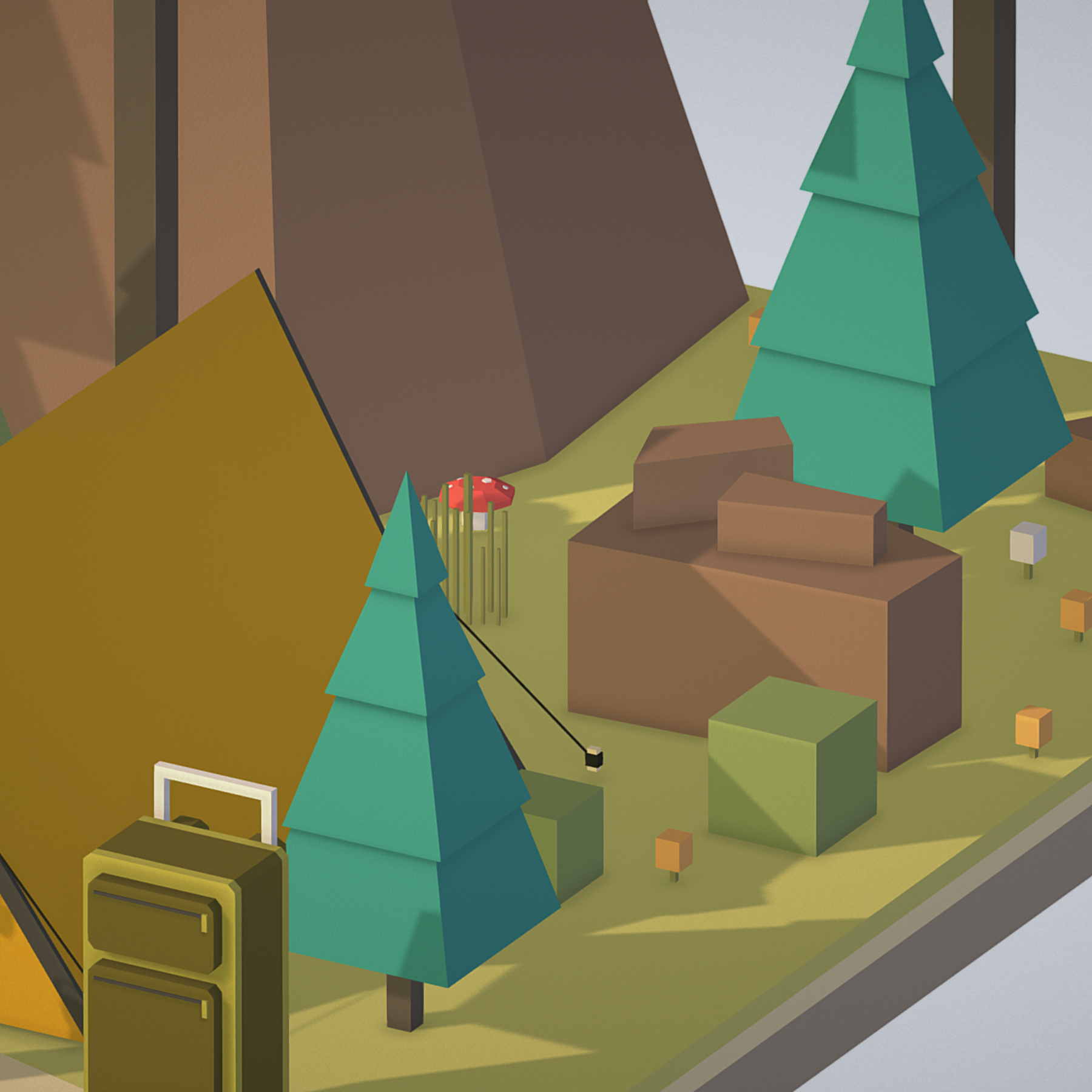 isometric campsite near a river mountain 3d model 3ds max fbx ma mb png obj 271133