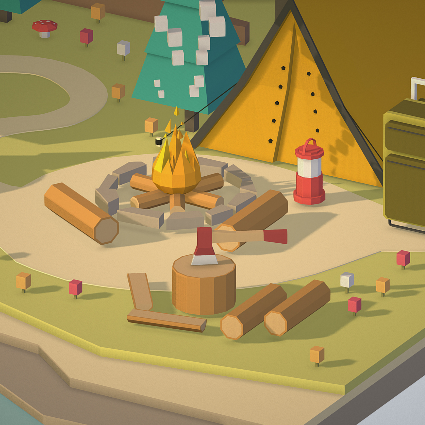 isometric campsite near a river mountain 3d model 3ds max fbx ma mb png obj 271134