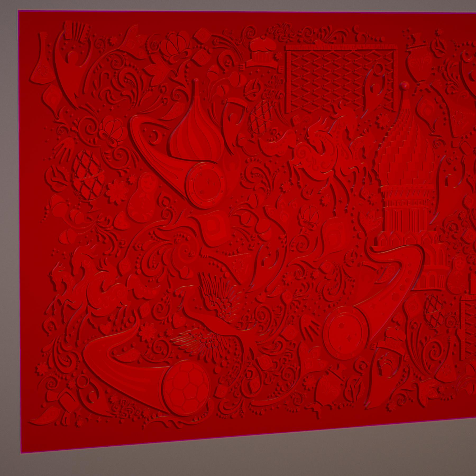 russian geometric tile ornament decoration red 3d model max fbx jpeg jpg ma mb obj 271190