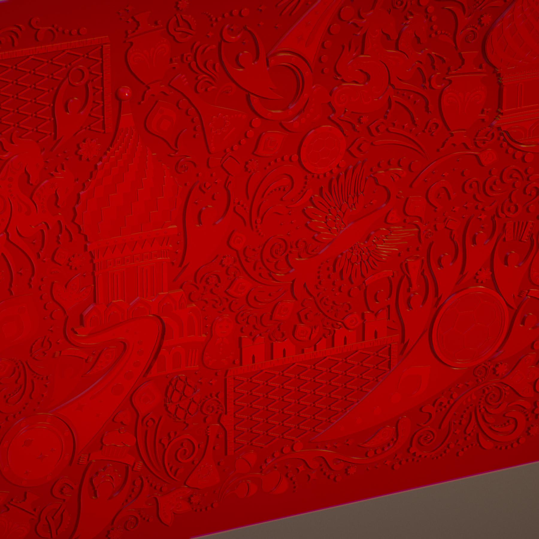 russian geometric tile ornament decoration red 3d model max fbx jpeg jpg ma mb obj 271192