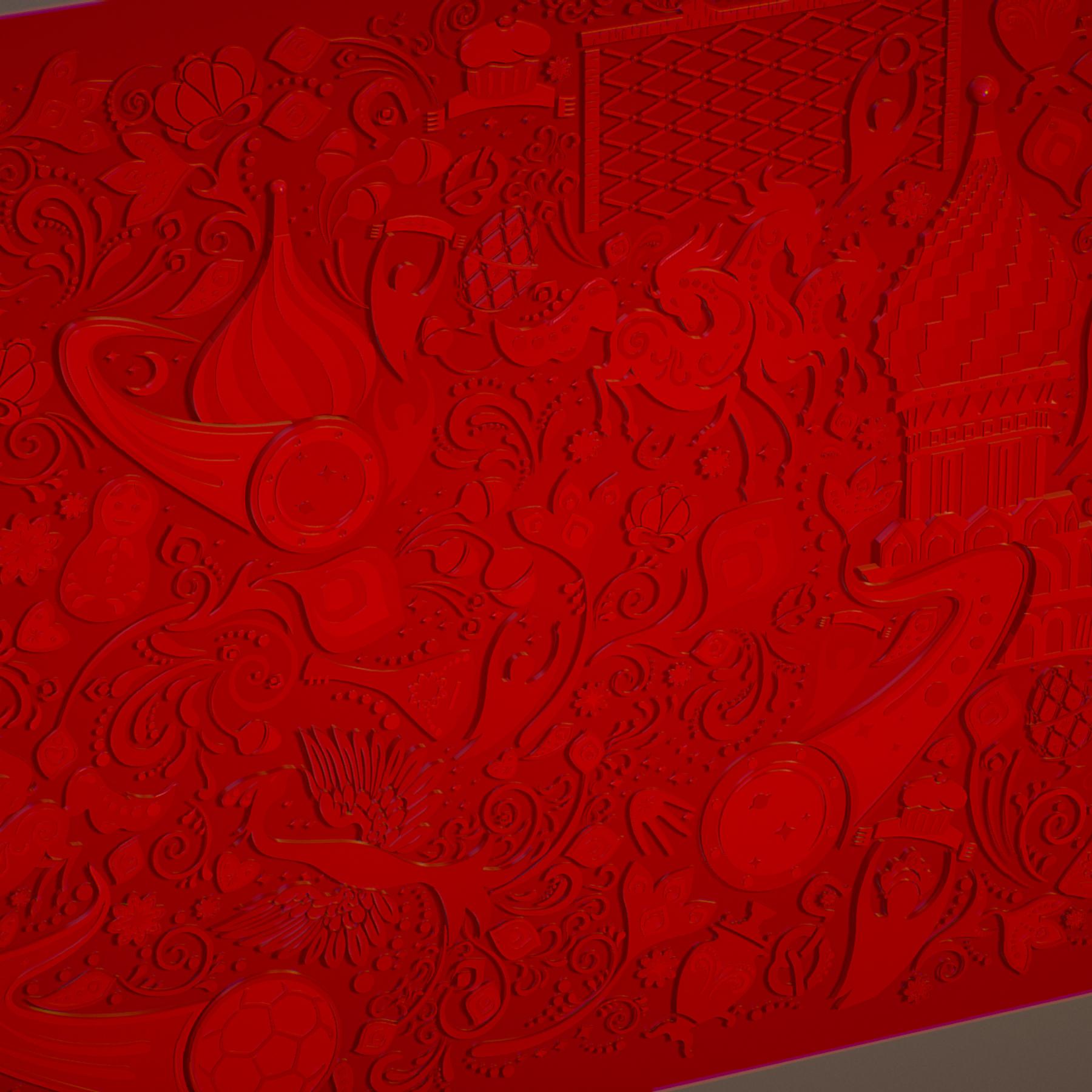 russian geometric tile ornament decoration red 3d model max fbx jpeg jpg ma mb obj 271193