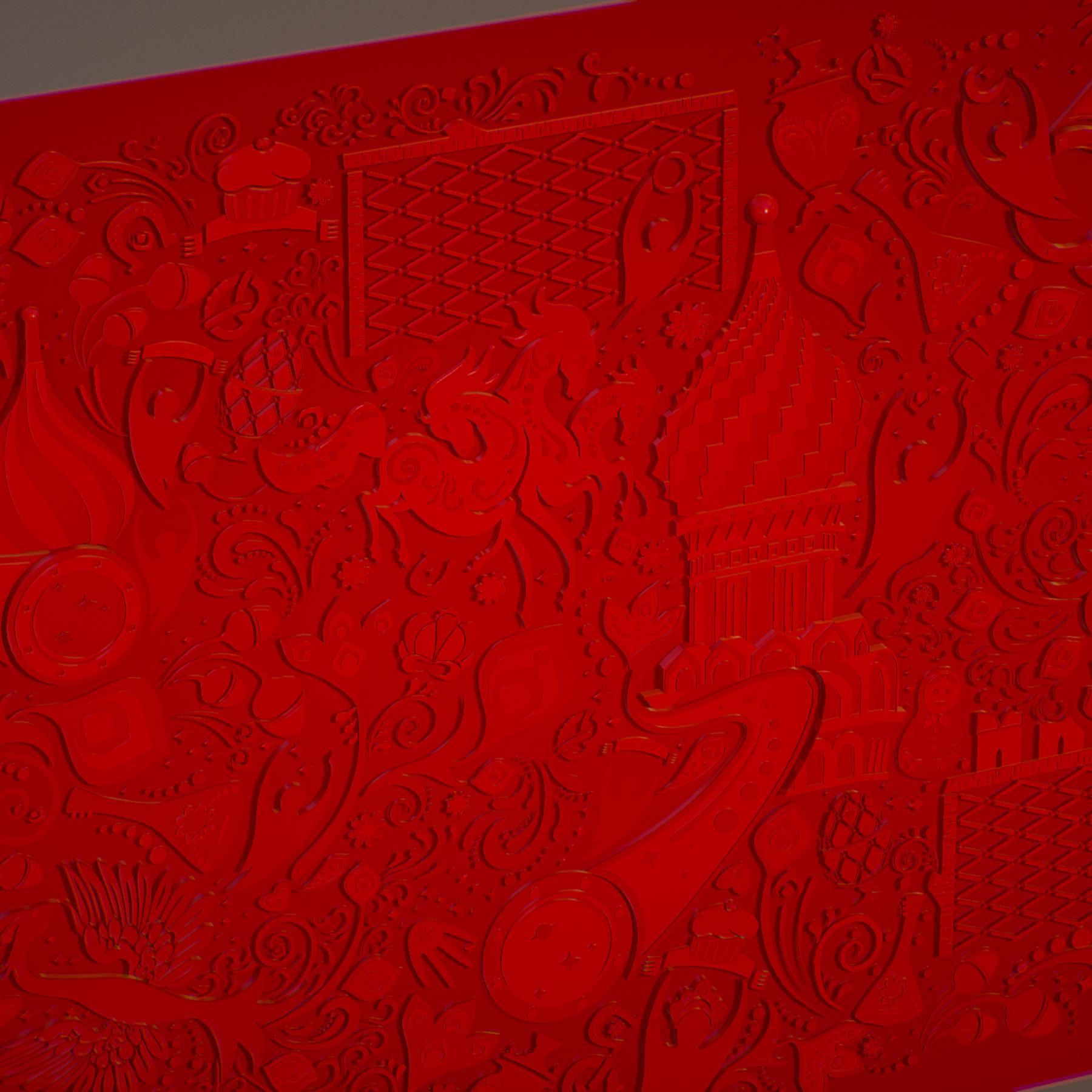 russian geometric tile ornament decoration red 3d model max fbx jpeg jpg ma mb obj 271194