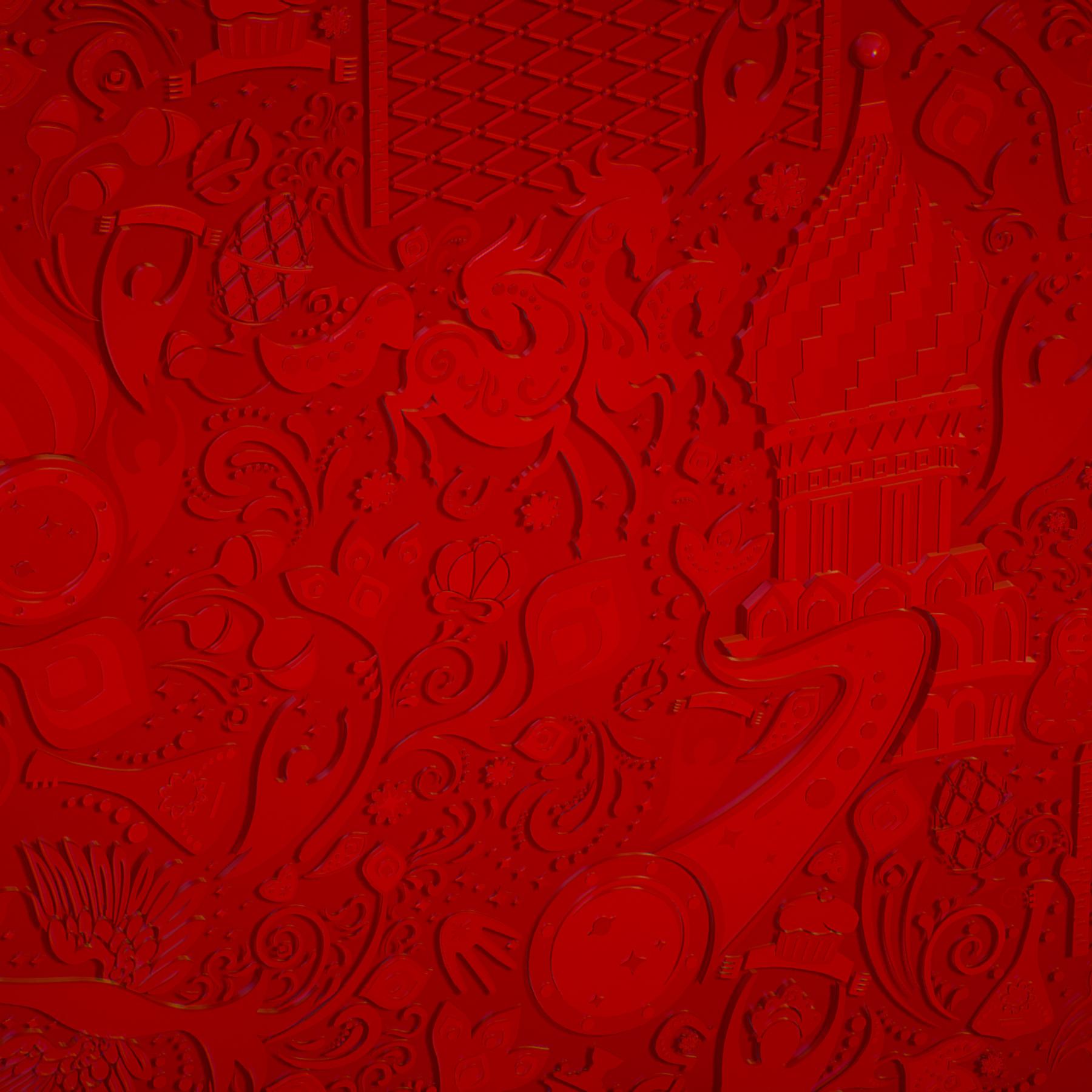 russian geometric tile ornament decoration red 3d model max fbx jpeg jpg ma mb obj 271195