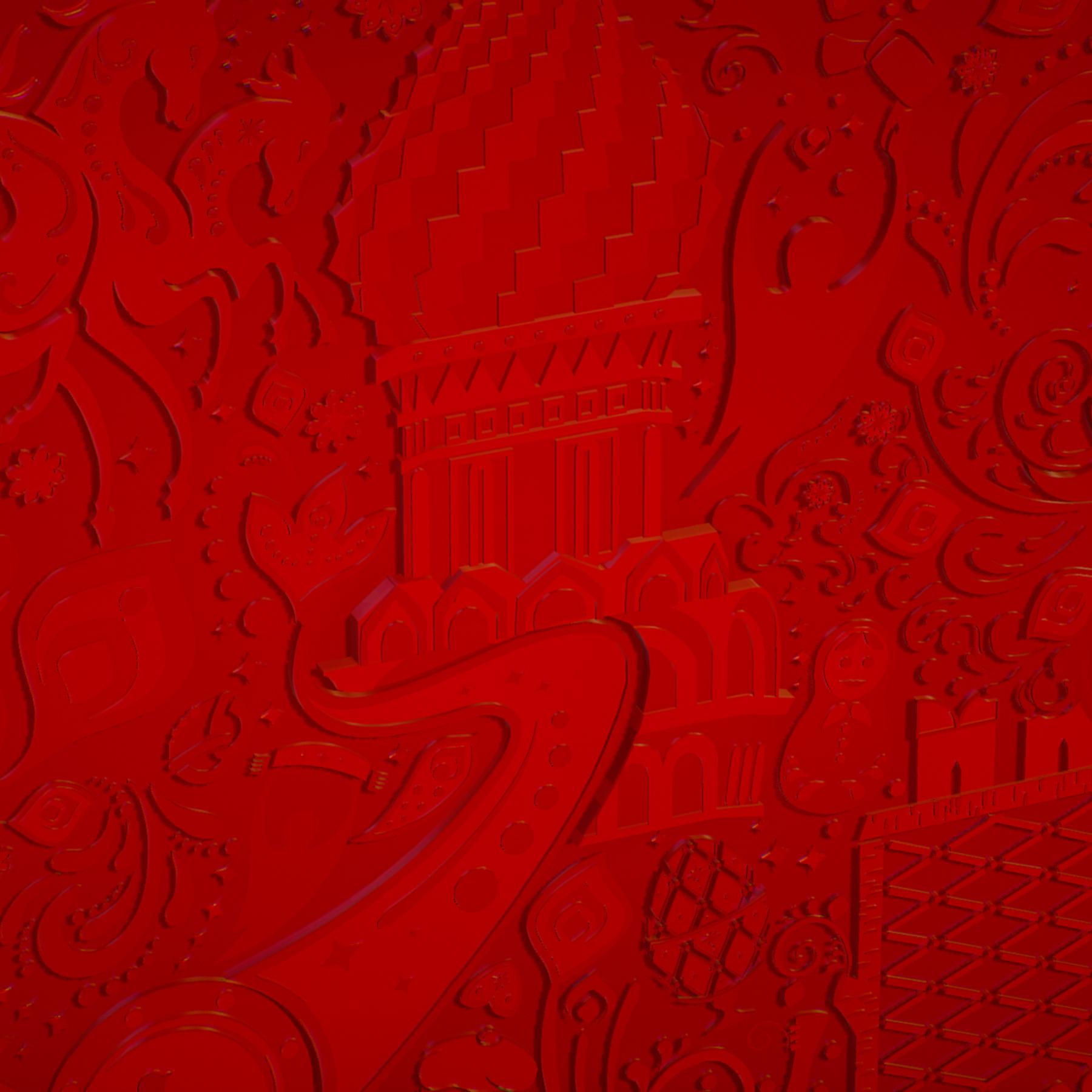 russian geometric tile ornament decoration red 3d model max fbx jpeg jpg ma mb obj 271201