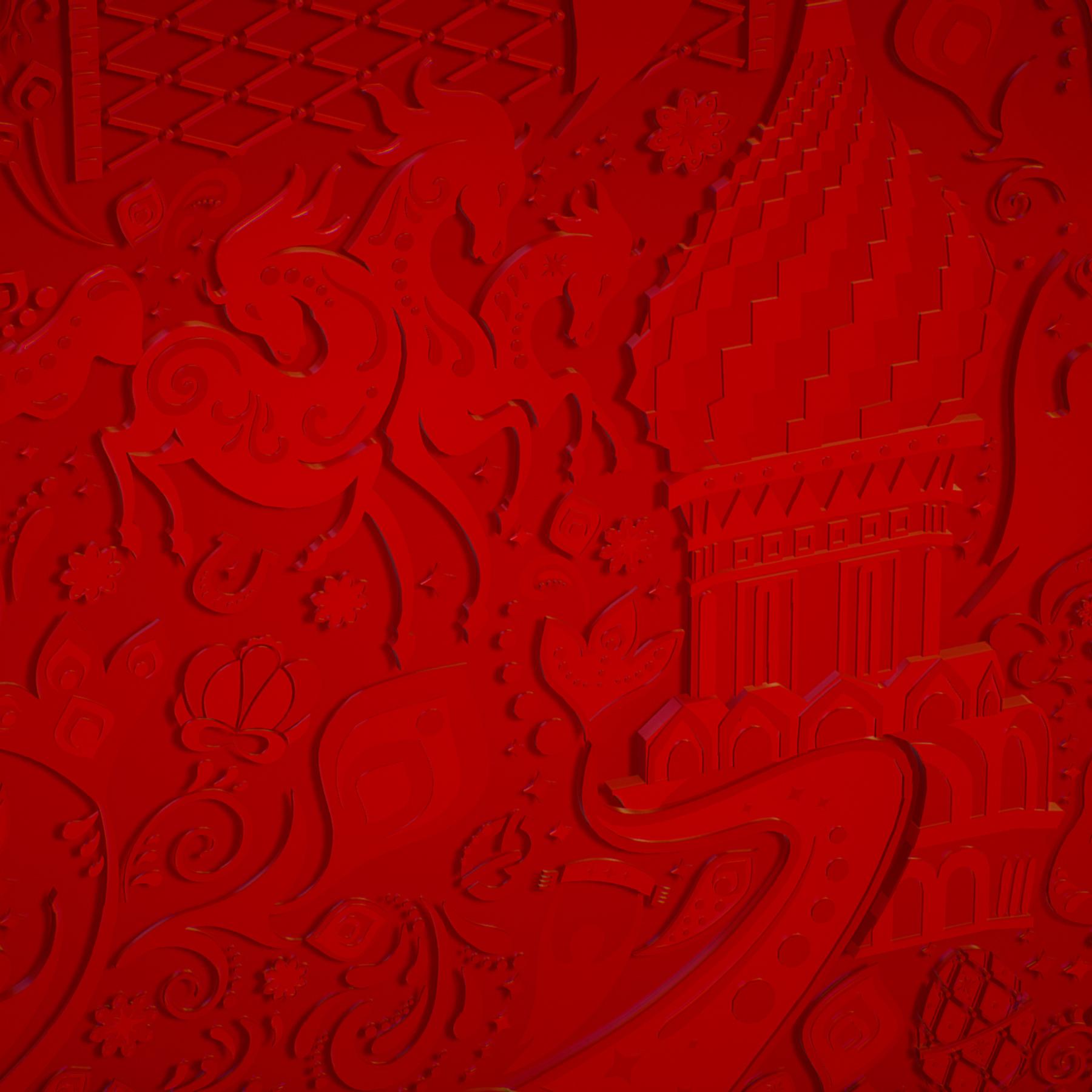 russian geometric tile ornament decoration red 3d model max fbx jpeg jpg ma mb obj 271202