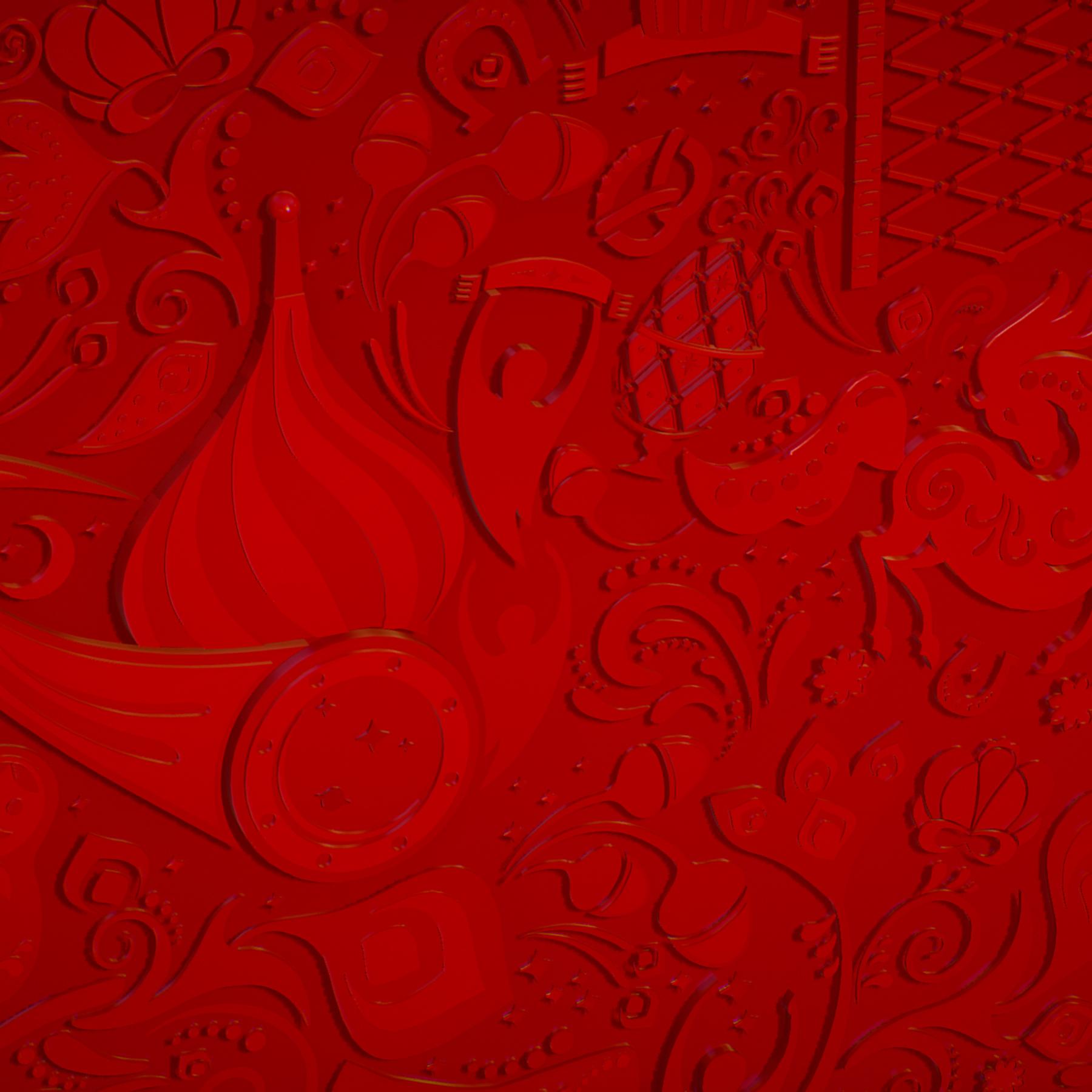 russian geometric tile ornament decoration red 3d model max fbx jpeg jpg ma mb obj 271203