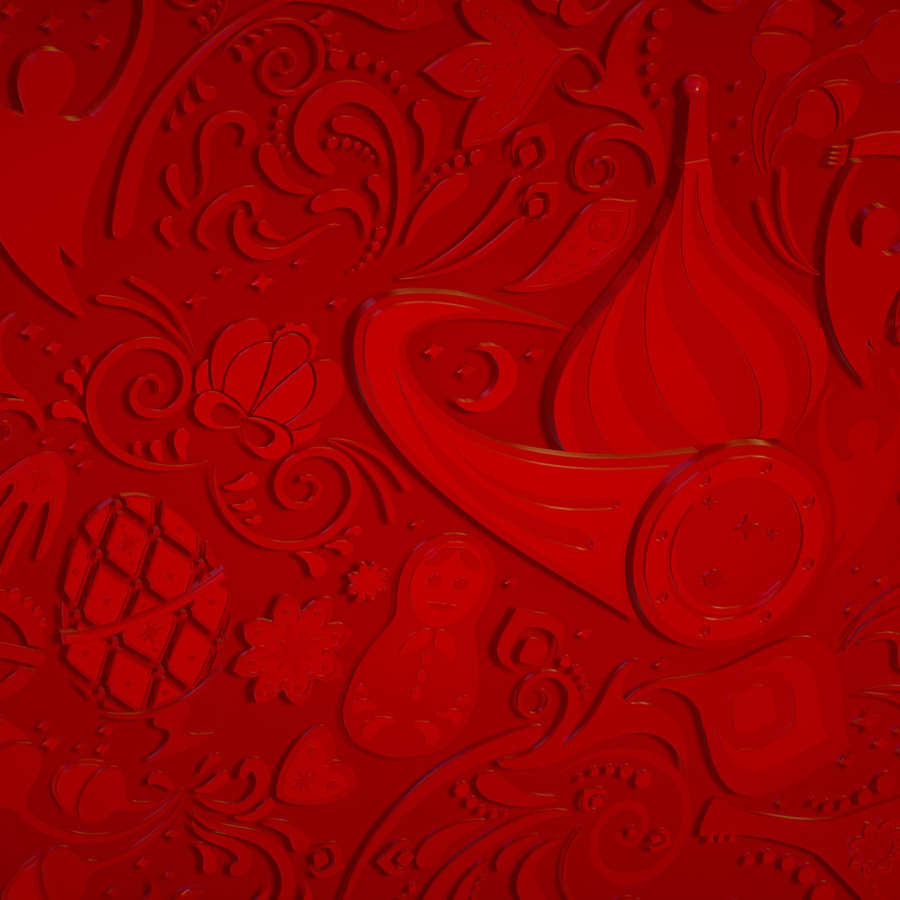 russian geometric tile ornament decoration red 3d model max fbx jpeg jpg ma mb obj 271204