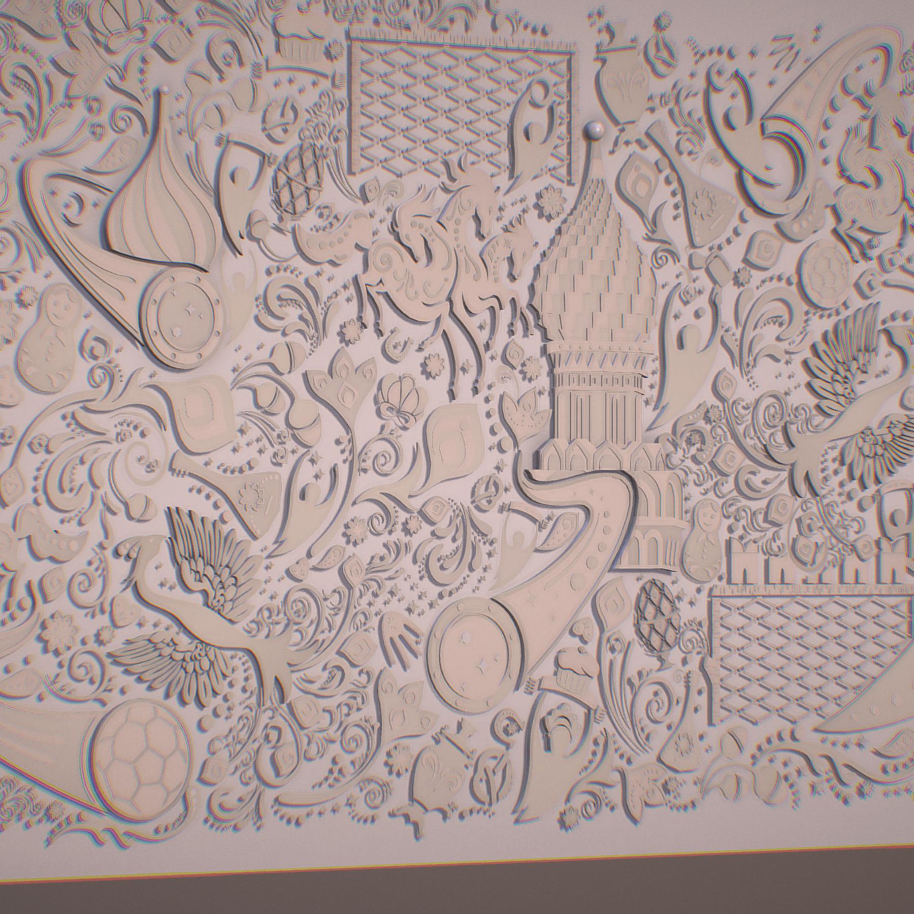 Russian geometric tile ornament decoration beige 3d model max fbx jpeg ma mb obj 271216