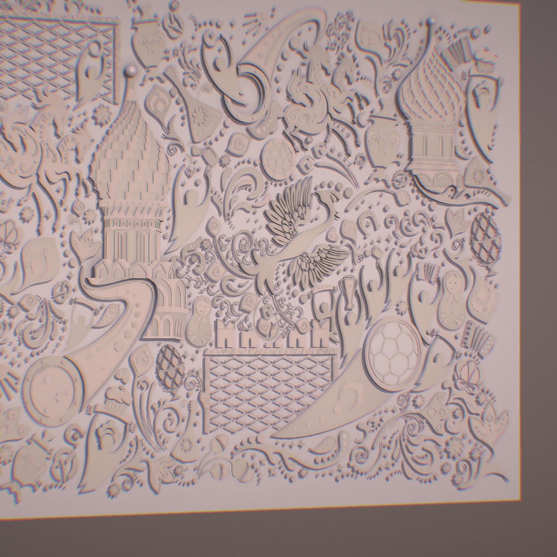 russian geometric tile ornament decoration beige 3d model max fbx jpeg jpg ma mb obj 271217