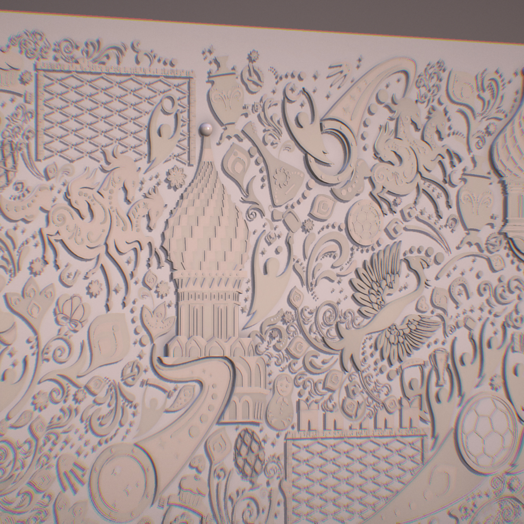 russian geometric tile ornament decoration beige 3d model max fbx jpeg jpg ma mb obj 271218