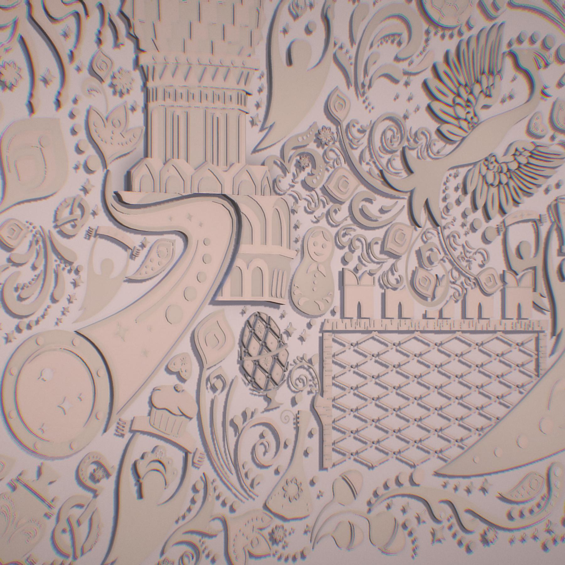 russian geometric tile ornament decoration beige 3d model max fbx jpeg jpg ma mb obj 271219