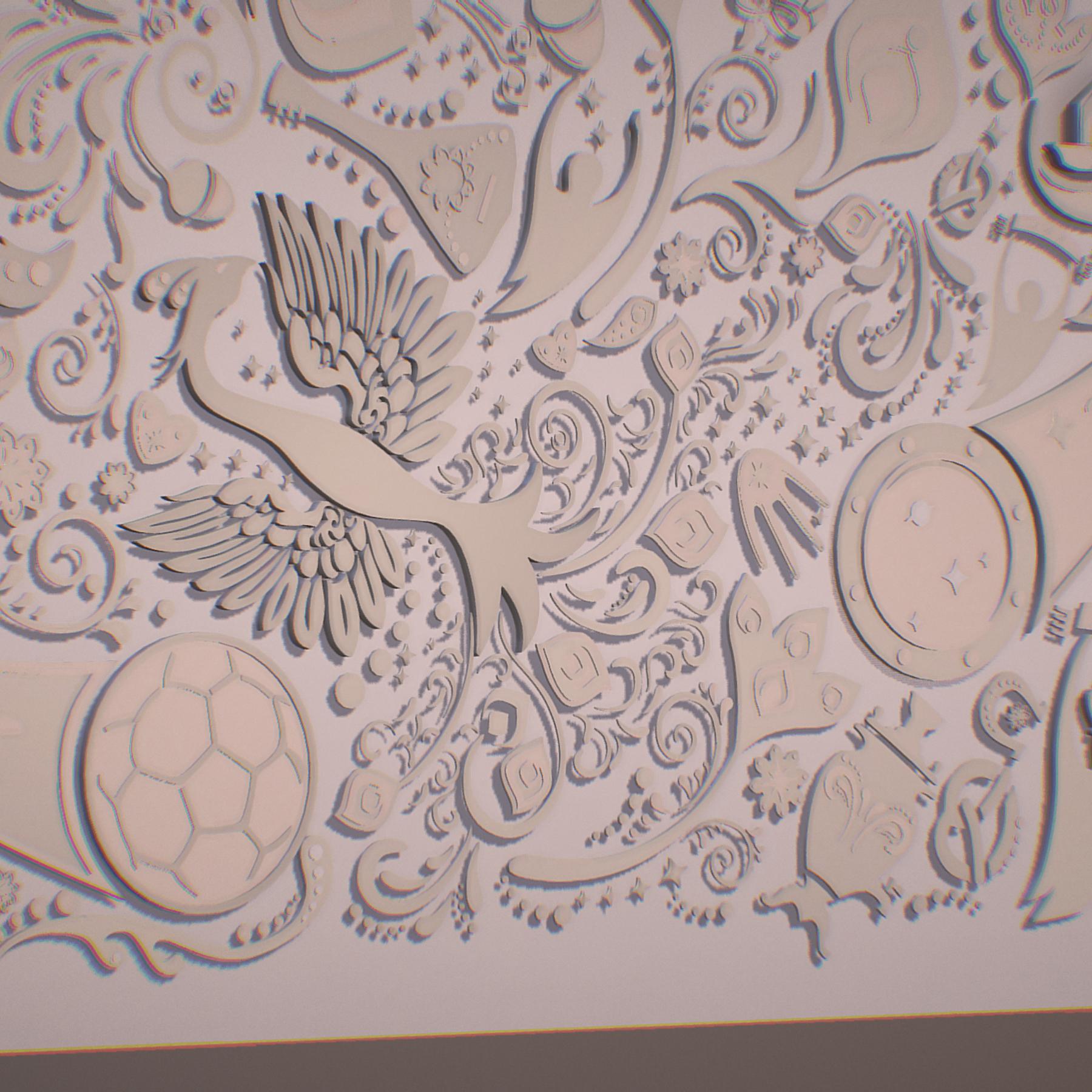 russian geometric tile ornament decoration beige 3d model max fbx jpeg jpg ma mb obj 271220
