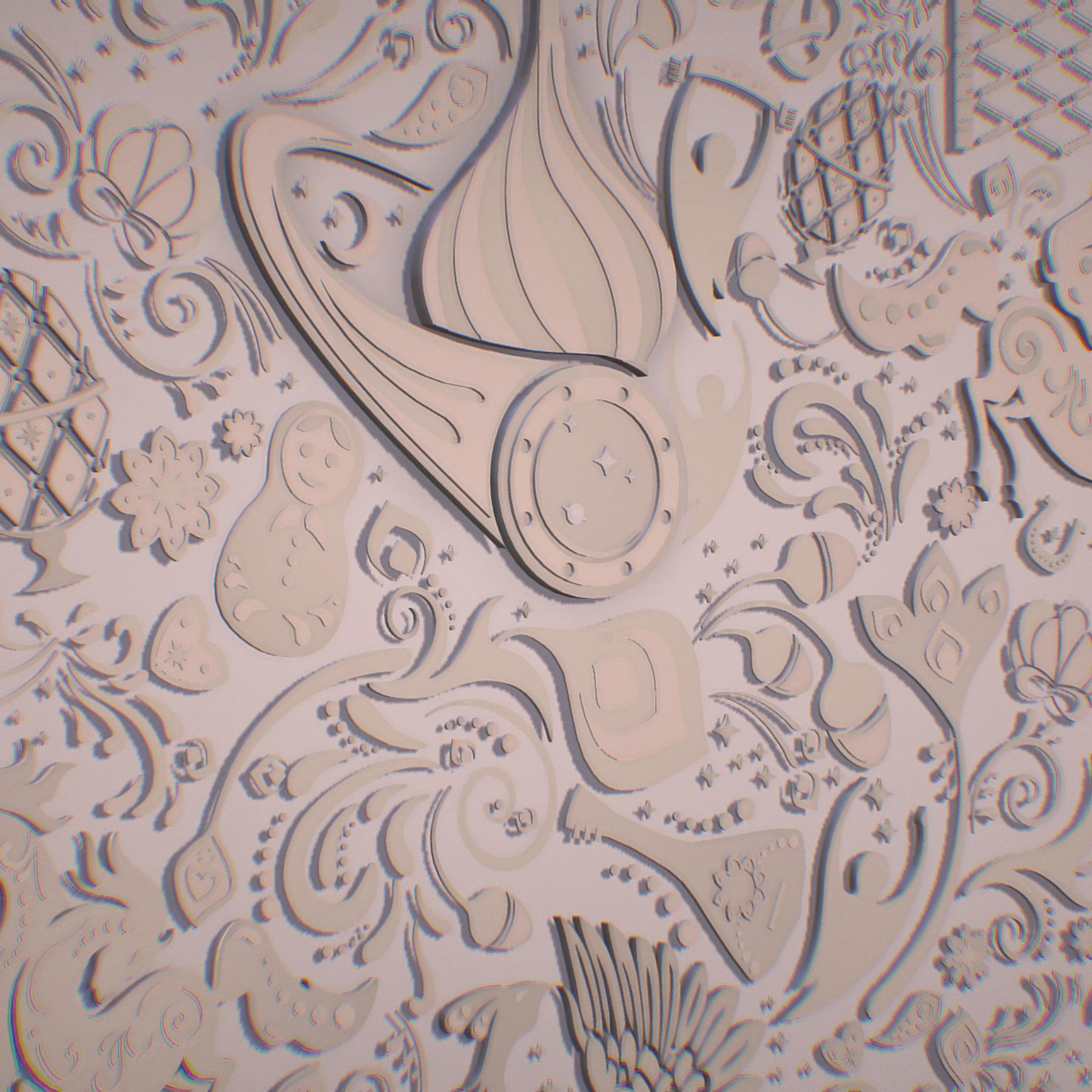 russian geometric tile ornament decoration beige 3d model max fbx jpeg jpg ma mb obj 271221