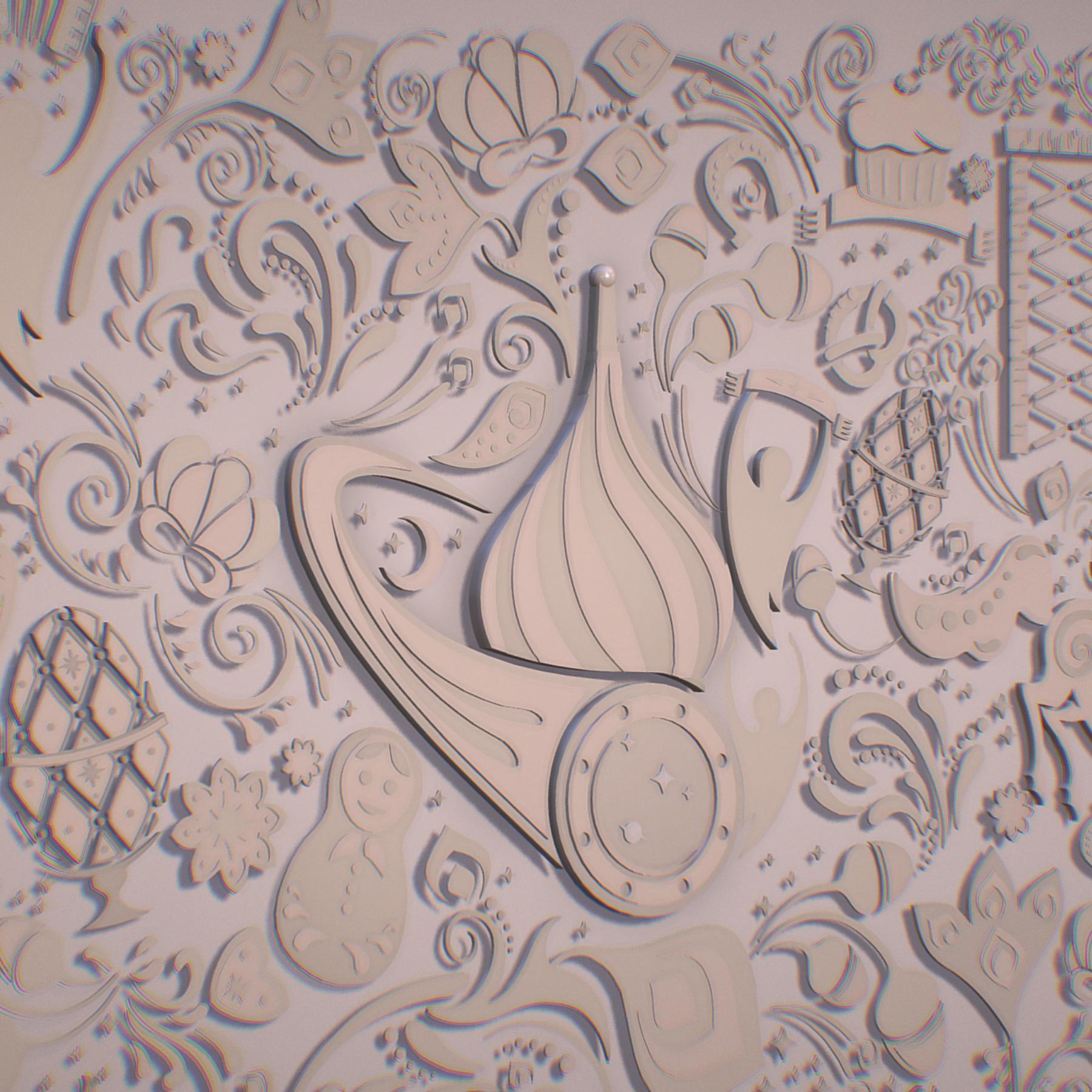 russian geometric tile ornament decoration beige 3d model max fbx jpeg jpg ma mb obj 271222