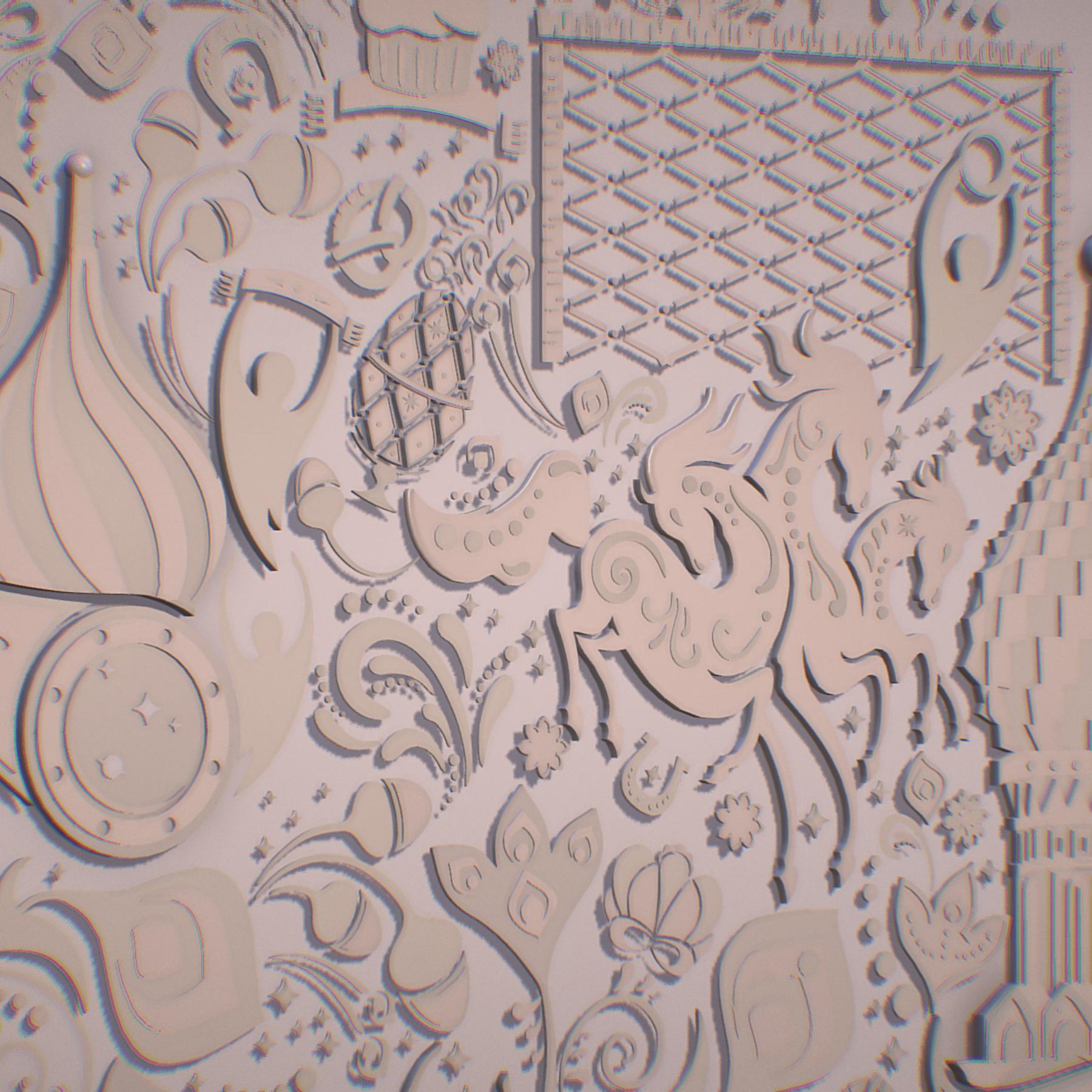 russian geometric tile ornament decoration beige 3d model max fbx jpeg jpg ma mb obj 271223