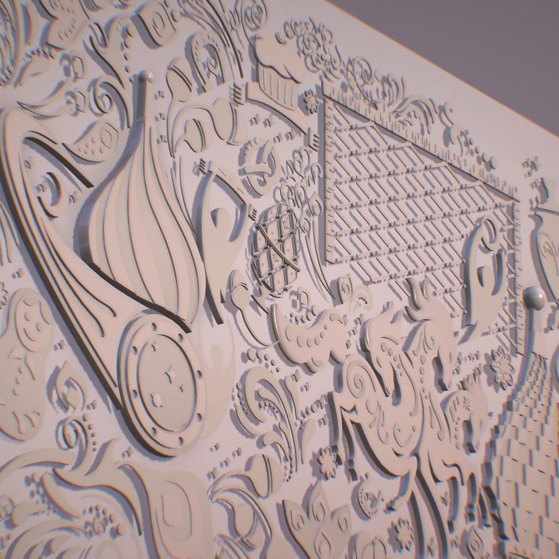 russian geometric tile ornament decoration beige 3d model max fbx jpeg jpg ma mb obj 271224