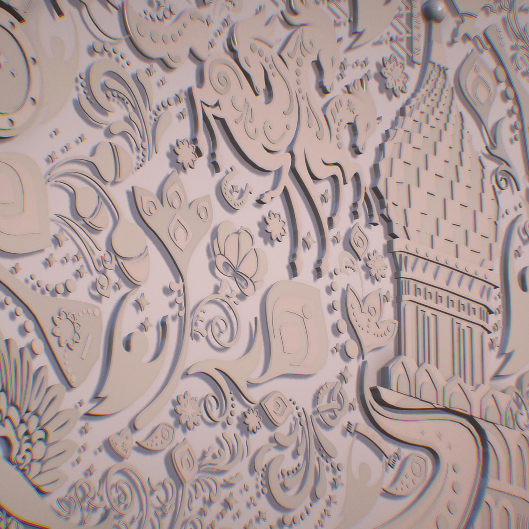 russian geometric tile ornament decoration beige 3d model max fbx jpeg jpg ma mb obj 271225