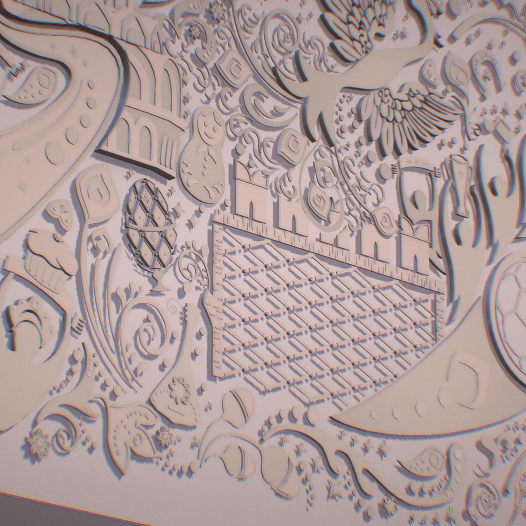 russian geometric tile ornament decoration beige 3d model max fbx jpeg jpg ma mb obj 271226