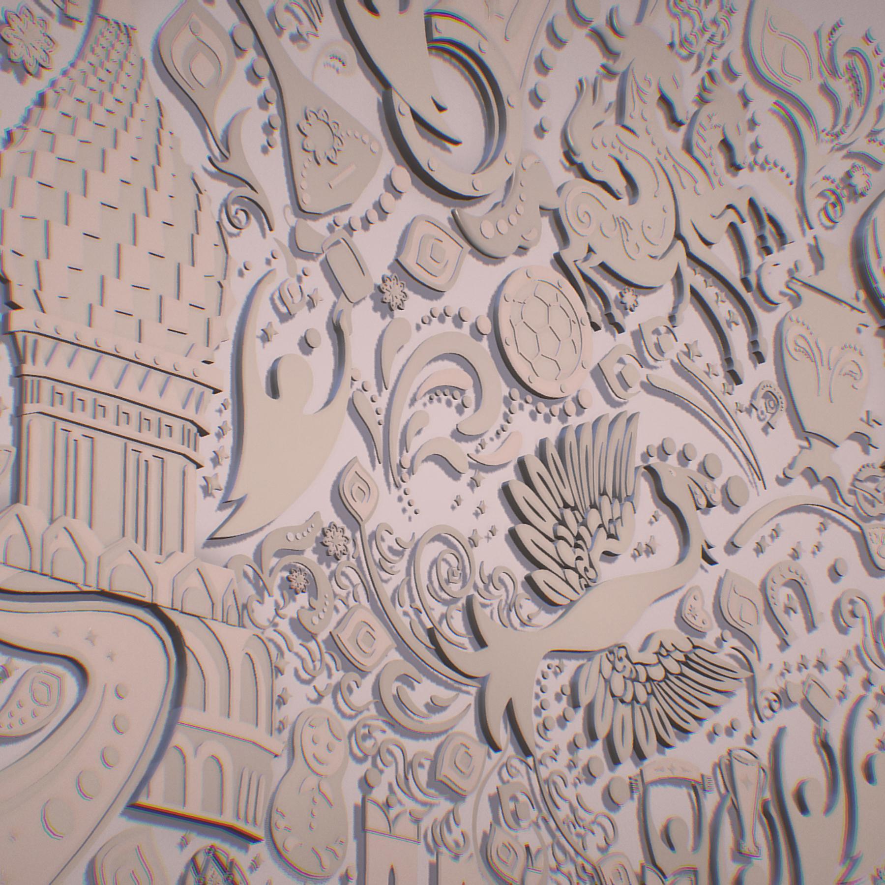 russian geometric tile ornament decoration beige 3d model max fbx jpeg jpg ma mb obj 271227