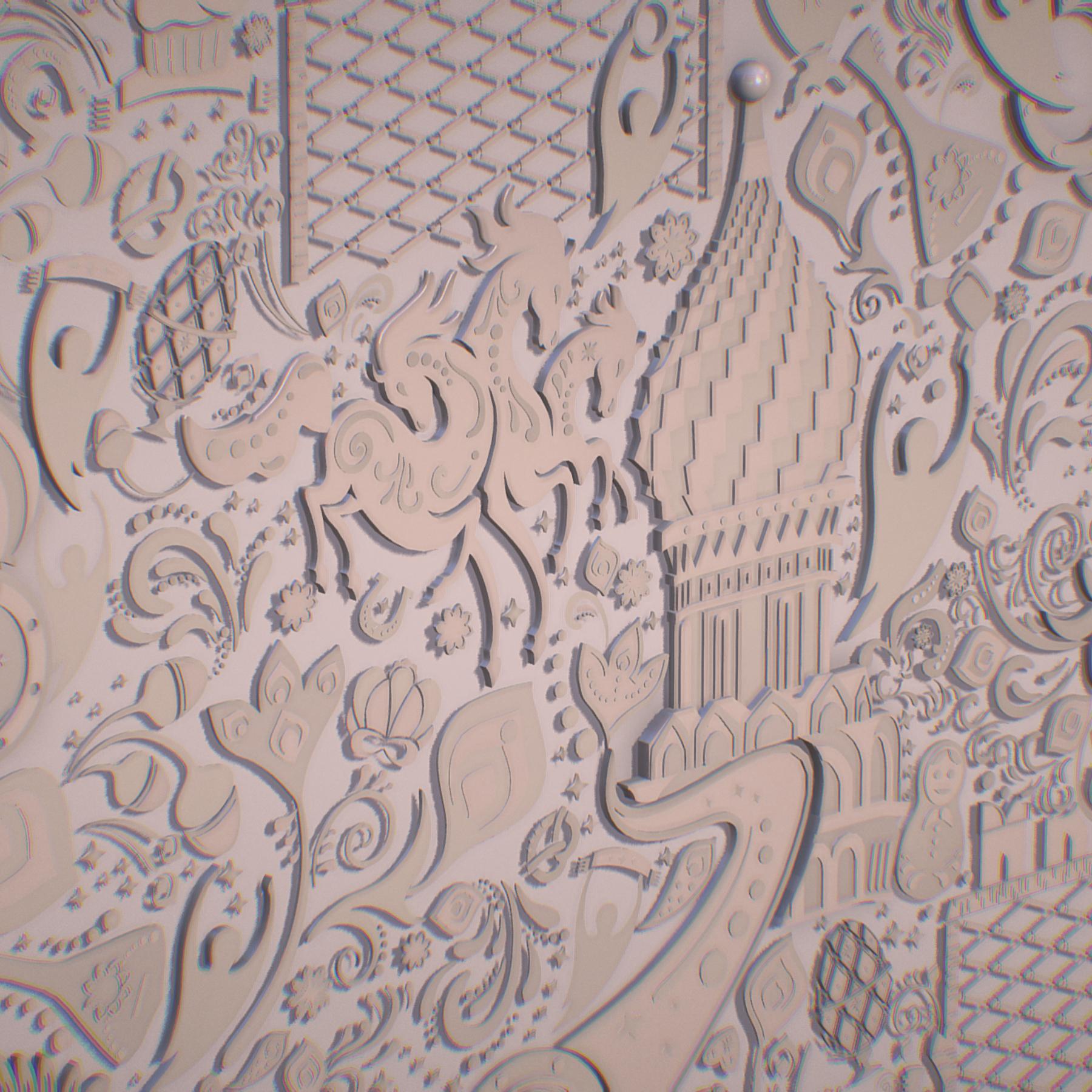 russian geometric tile ornament decoration beige 3d model max fbx jpeg jpg ma mb obj 271228