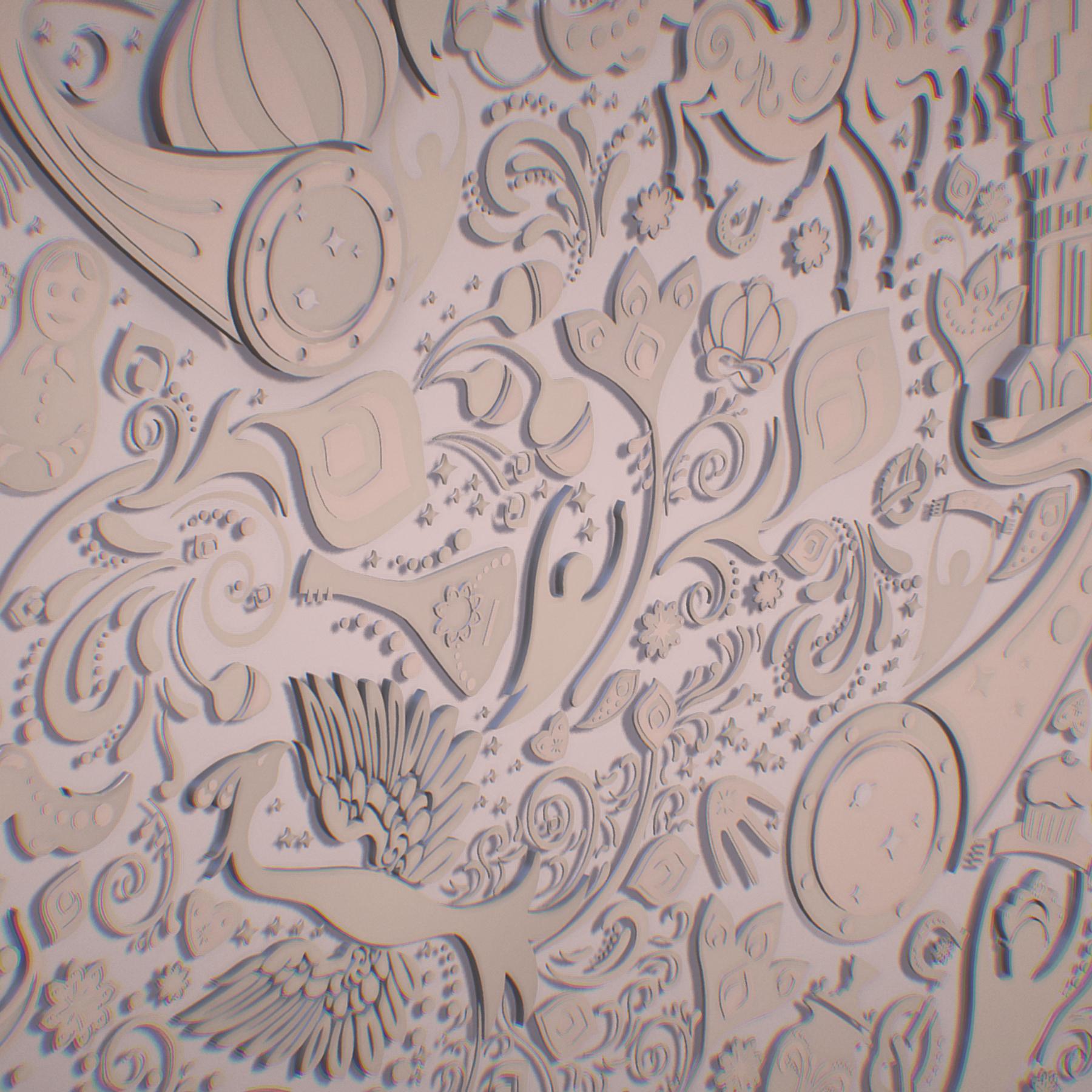russian geometric tile ornament decoration beige 3d model max fbx jpeg jpg ma mb obj 271229