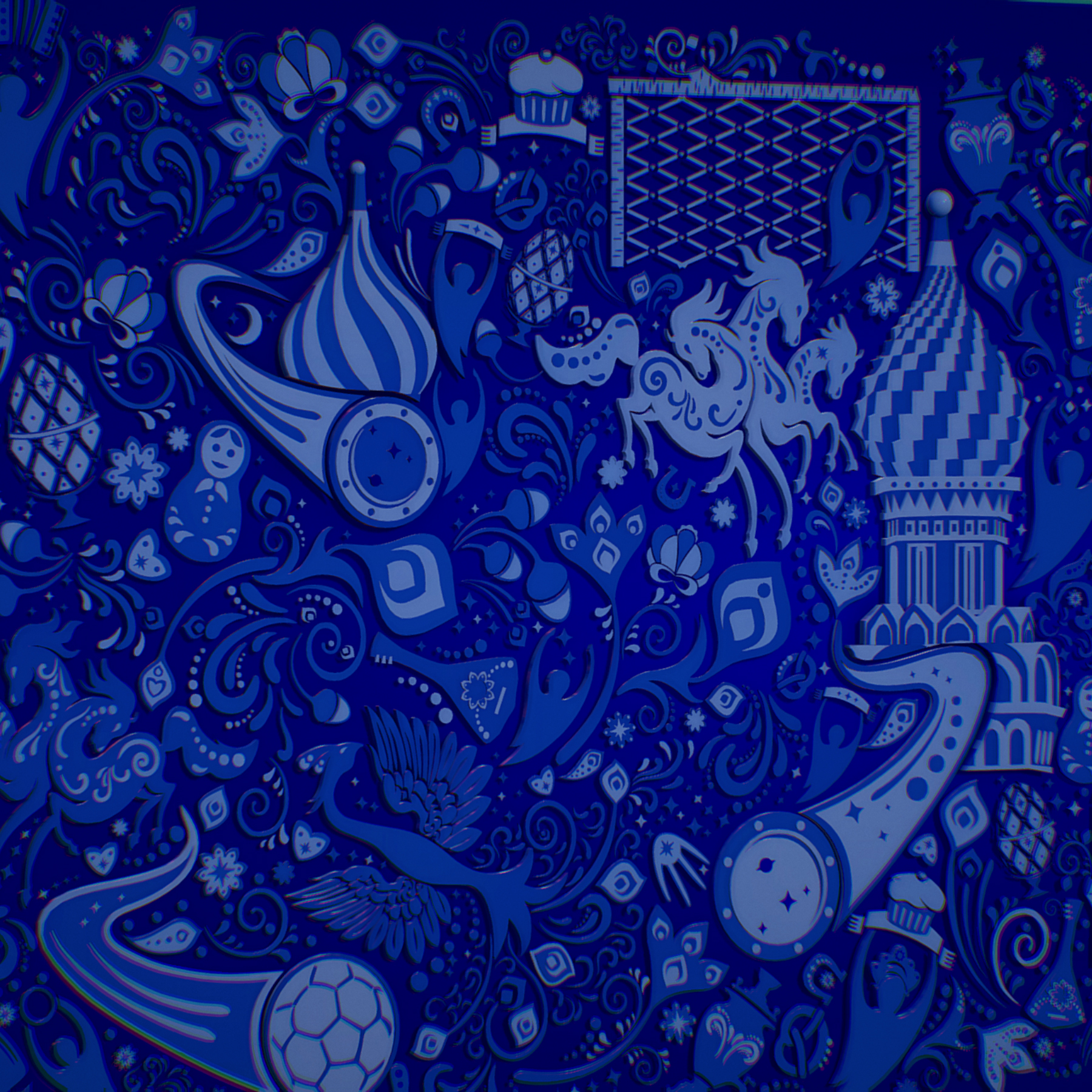 russian geometric tile ornament decoration blue 3d model max fbx jpeg jpg ma mb obj 271238
