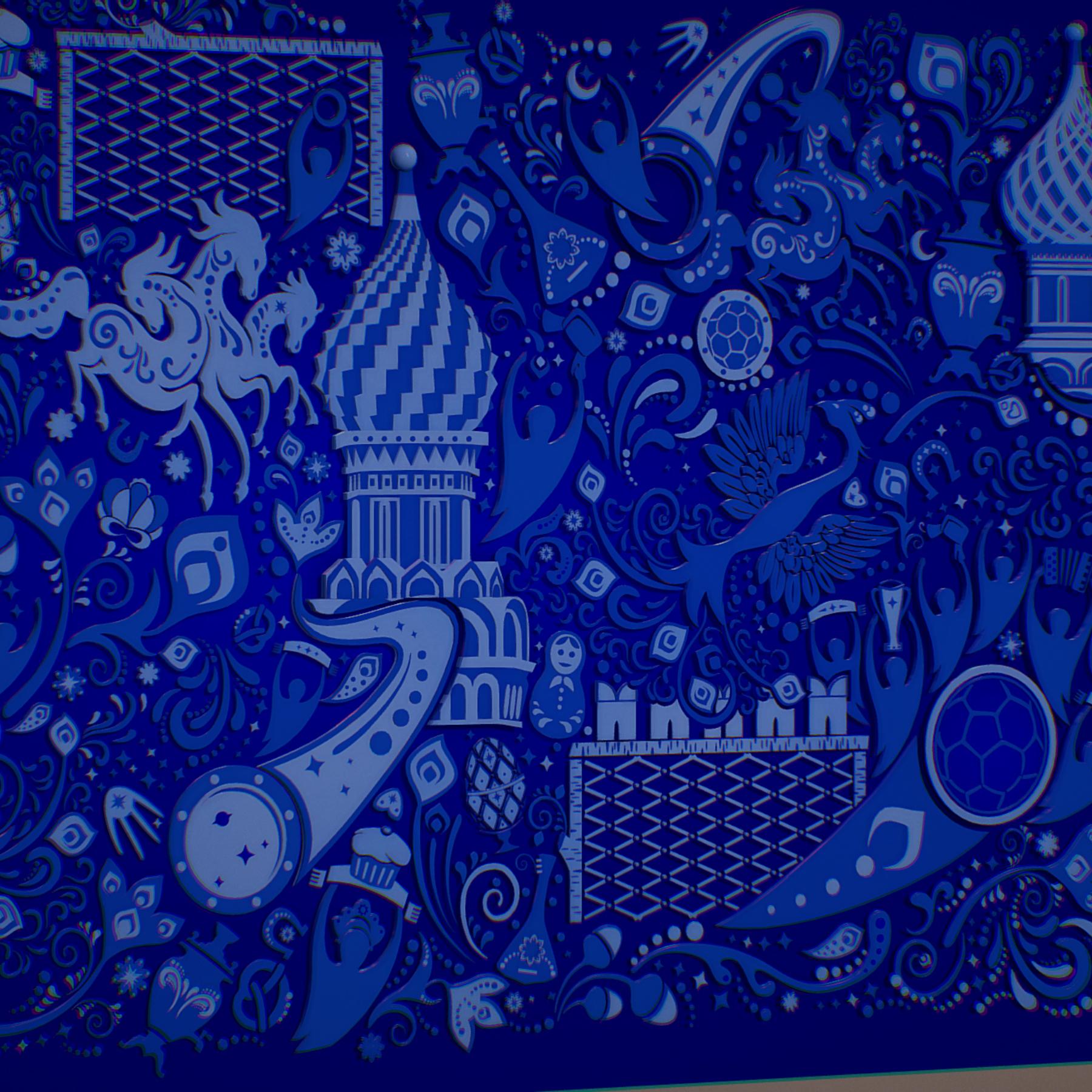 russian geometric tile ornament decoration blue 3d model max fbx jpeg jpg ma mb obj 271239