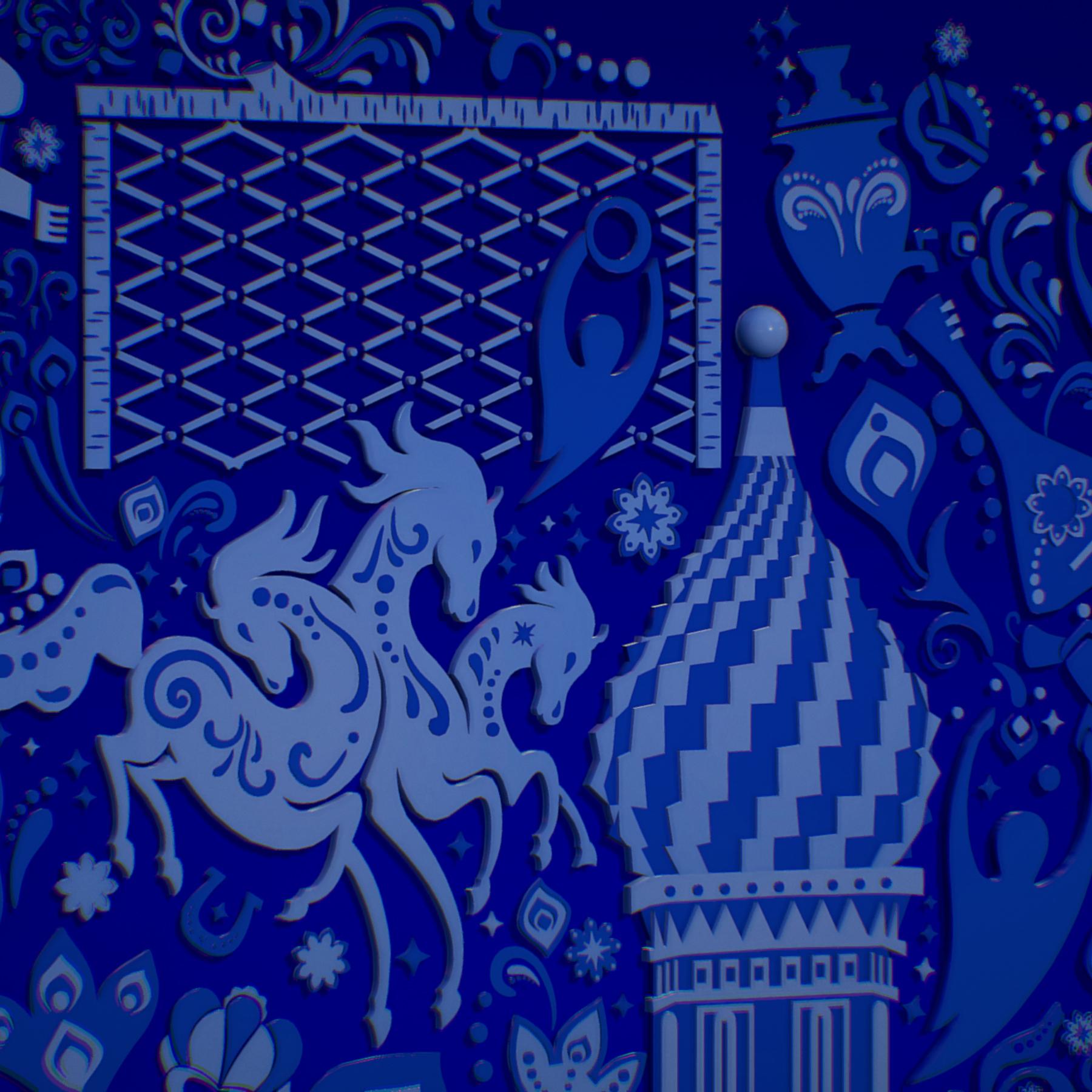 russian geometric tile ornament decoration blue 3d model max fbx jpeg jpg ma mb obj 271240
