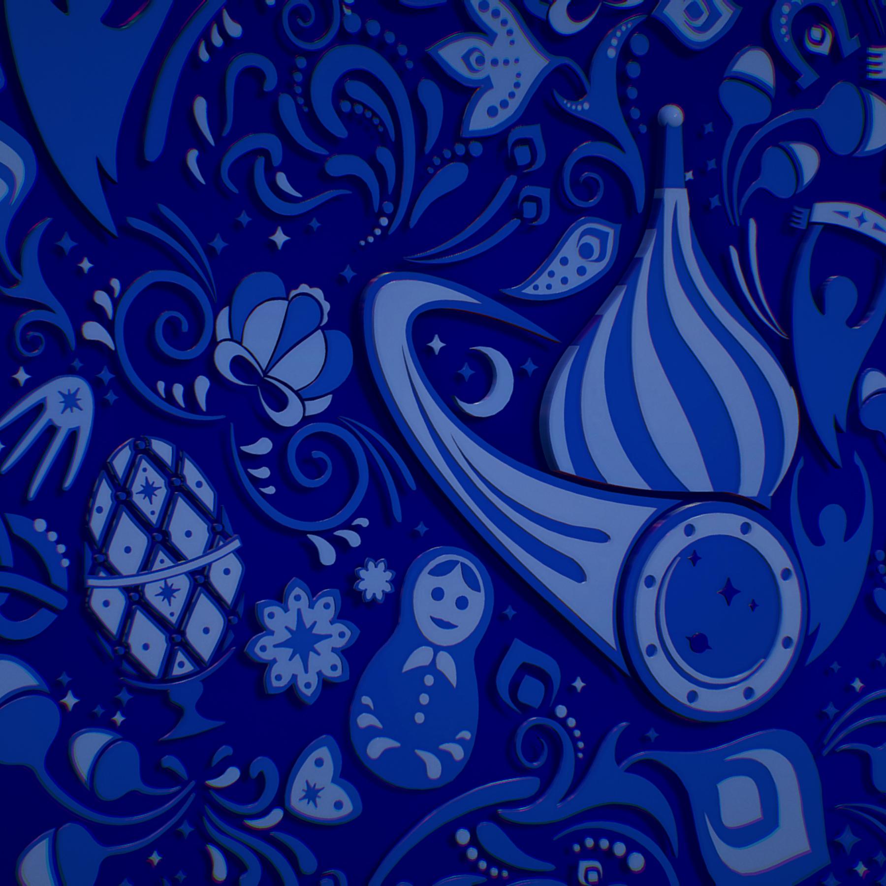russian geometric tile ornament decoration blue 3d model max fbx jpeg jpg ma mb obj 271241