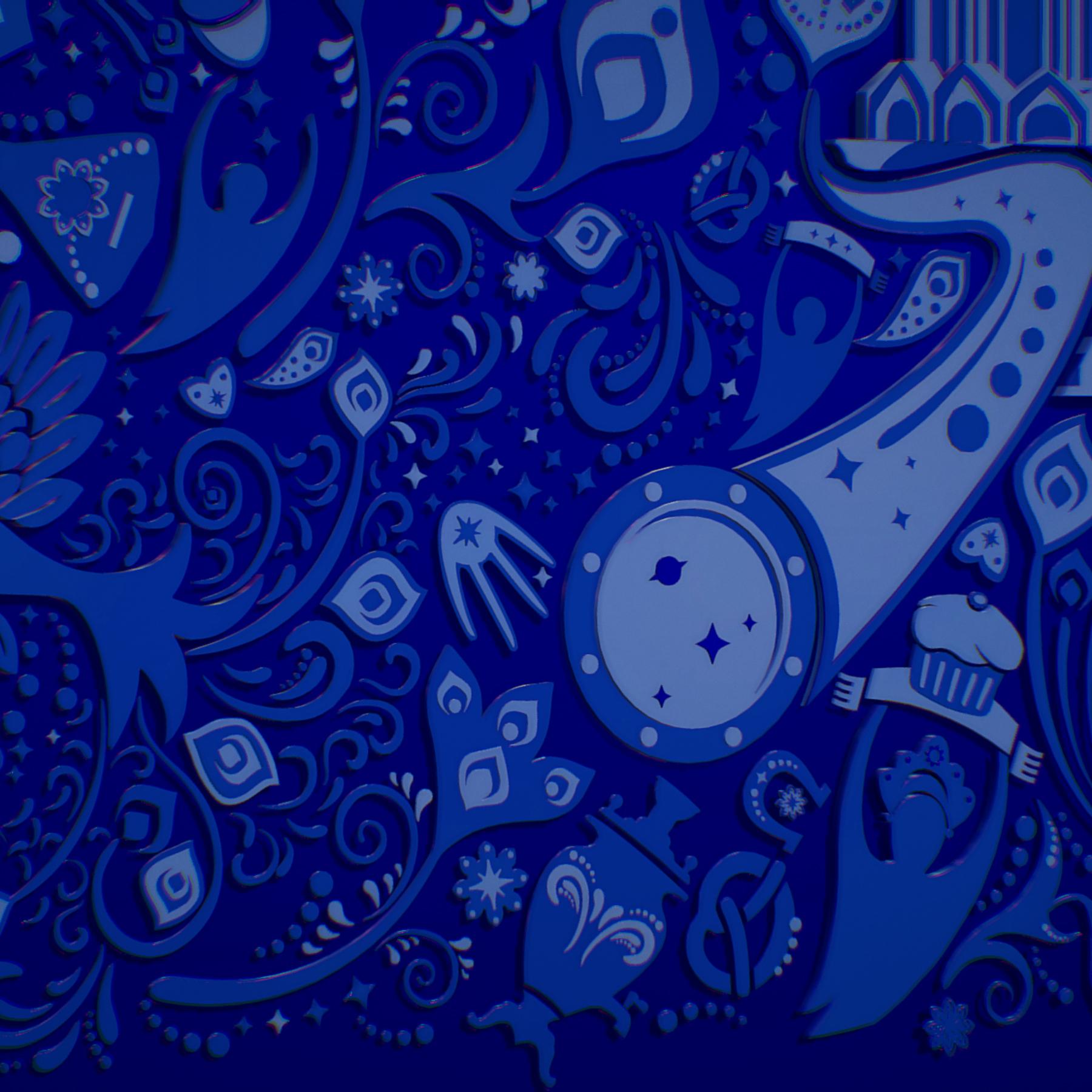 russian geometric tile ornament decoration blue 3d model max fbx jpeg jpg ma mb obj 271244