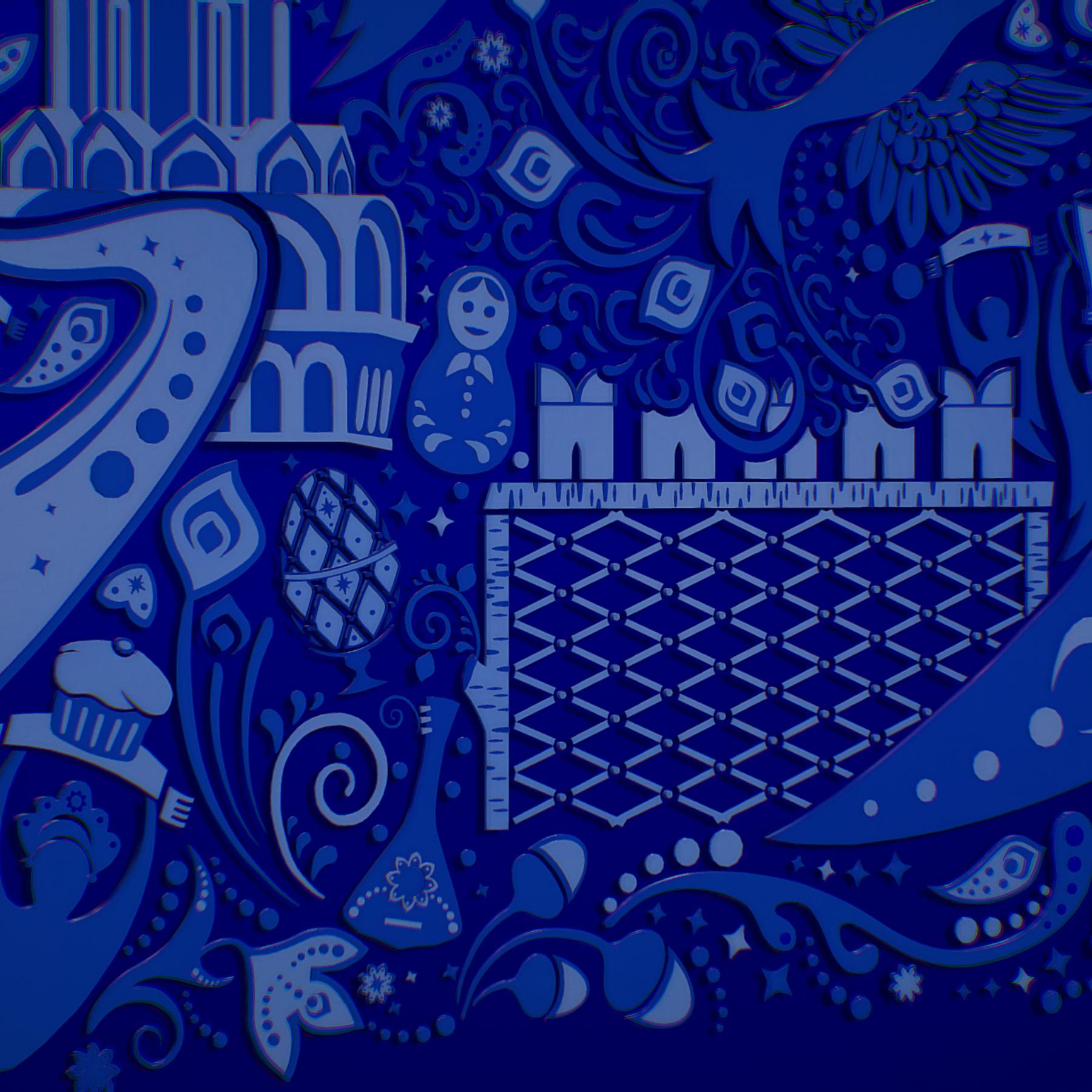 russian geometric tile ornament decoration blue 3d model max fbx jpeg jpg ma mb obj 271245
