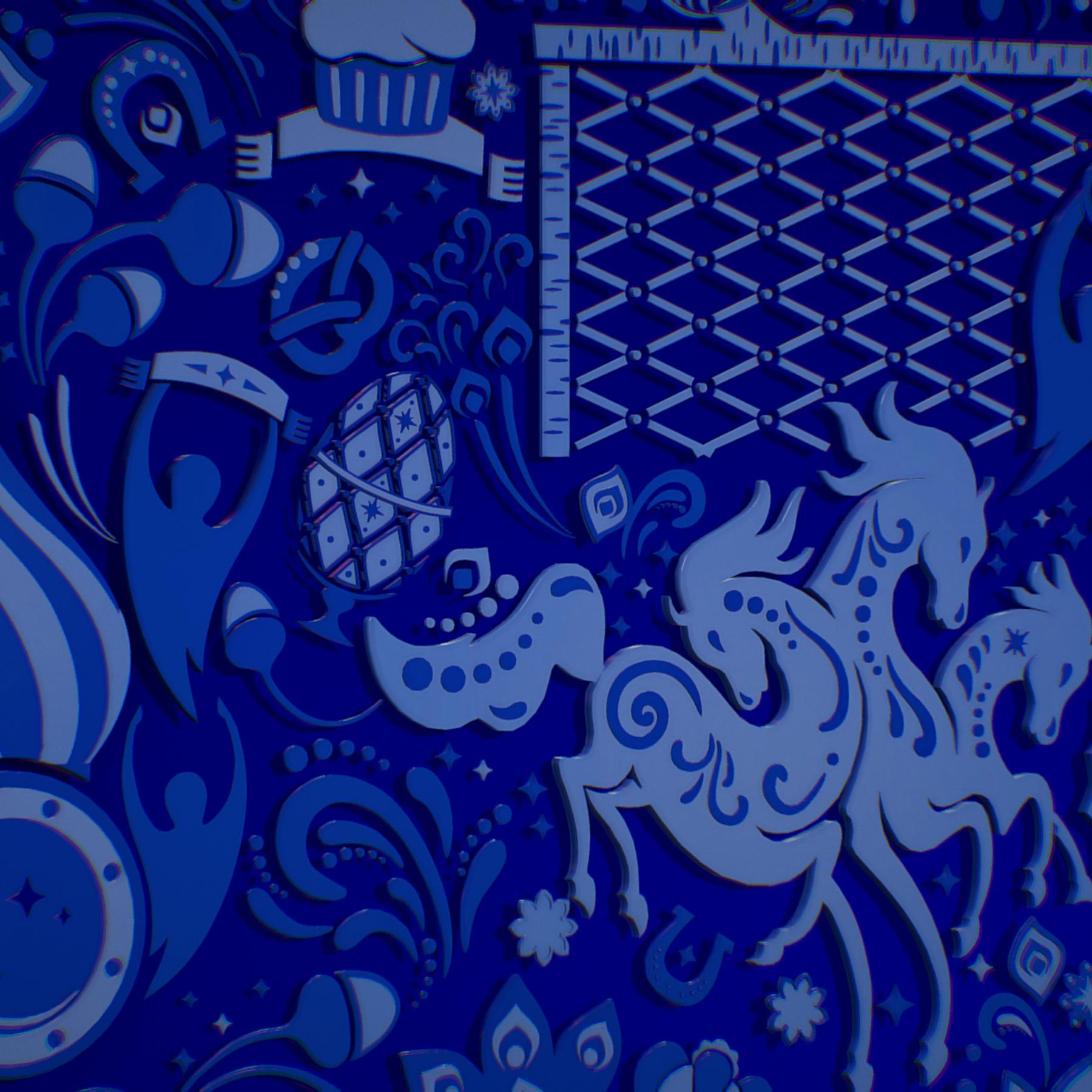russian geometric tile ornament decoration blue 3d model max fbx jpeg jpg ma mb obj 271247