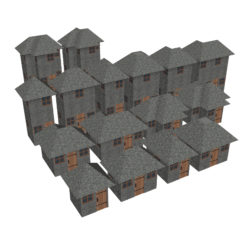 Modular Brick House Set 3d model 0