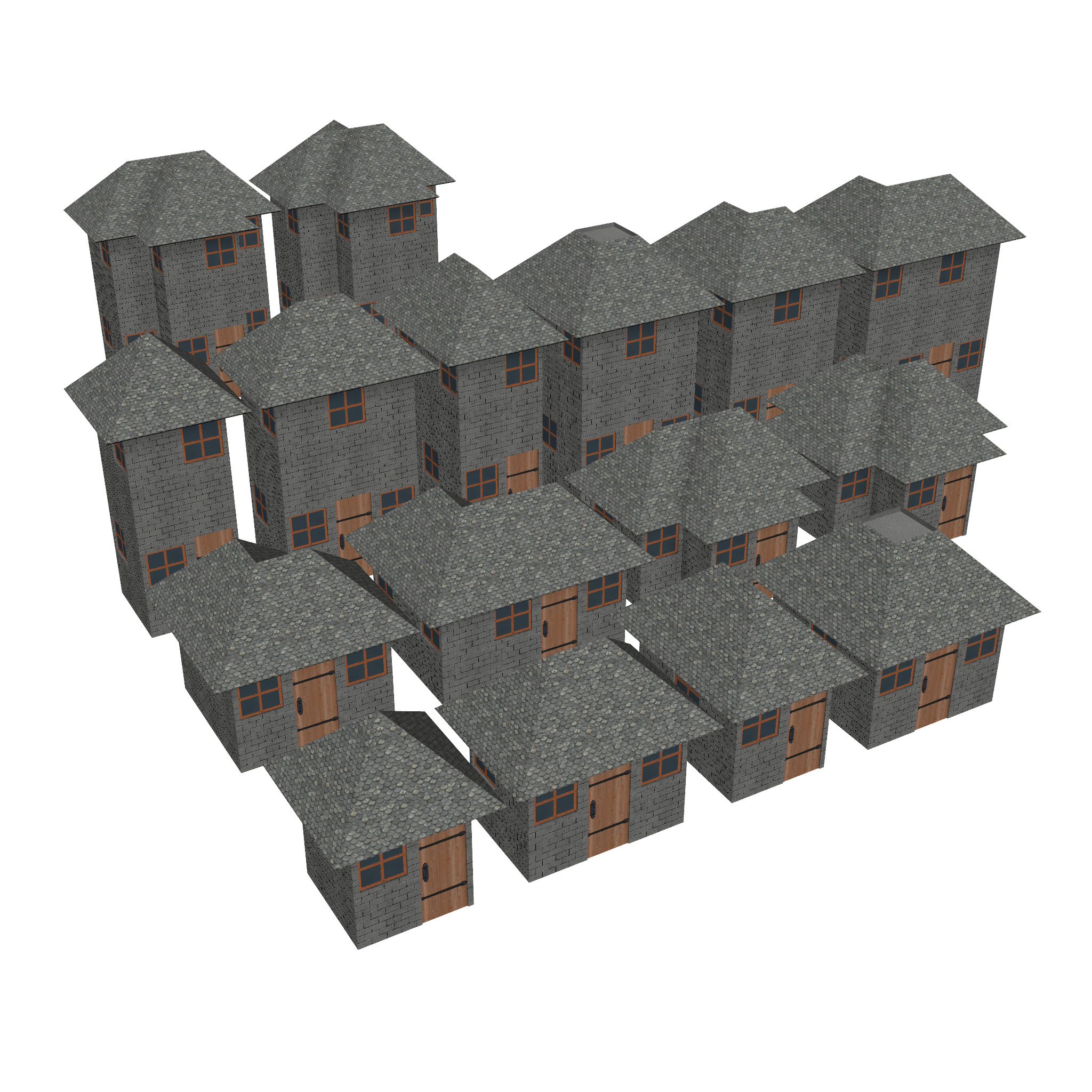 modular brick house set 3d model fbx ma mb 271393