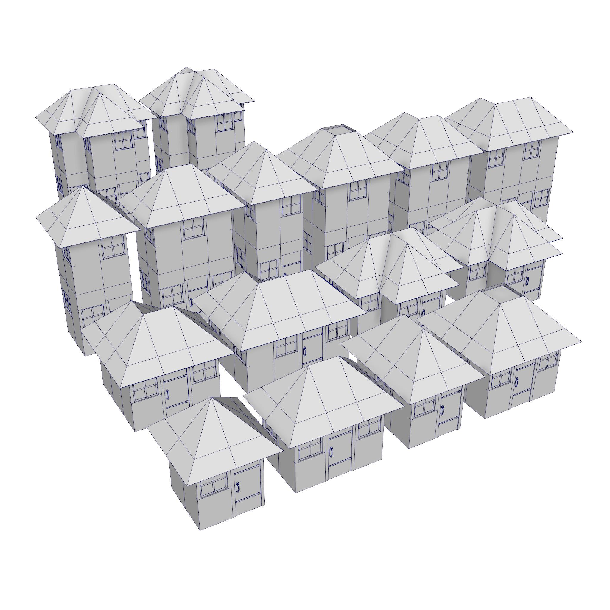 modular brick house set 3d model fbx ma mb 271394
