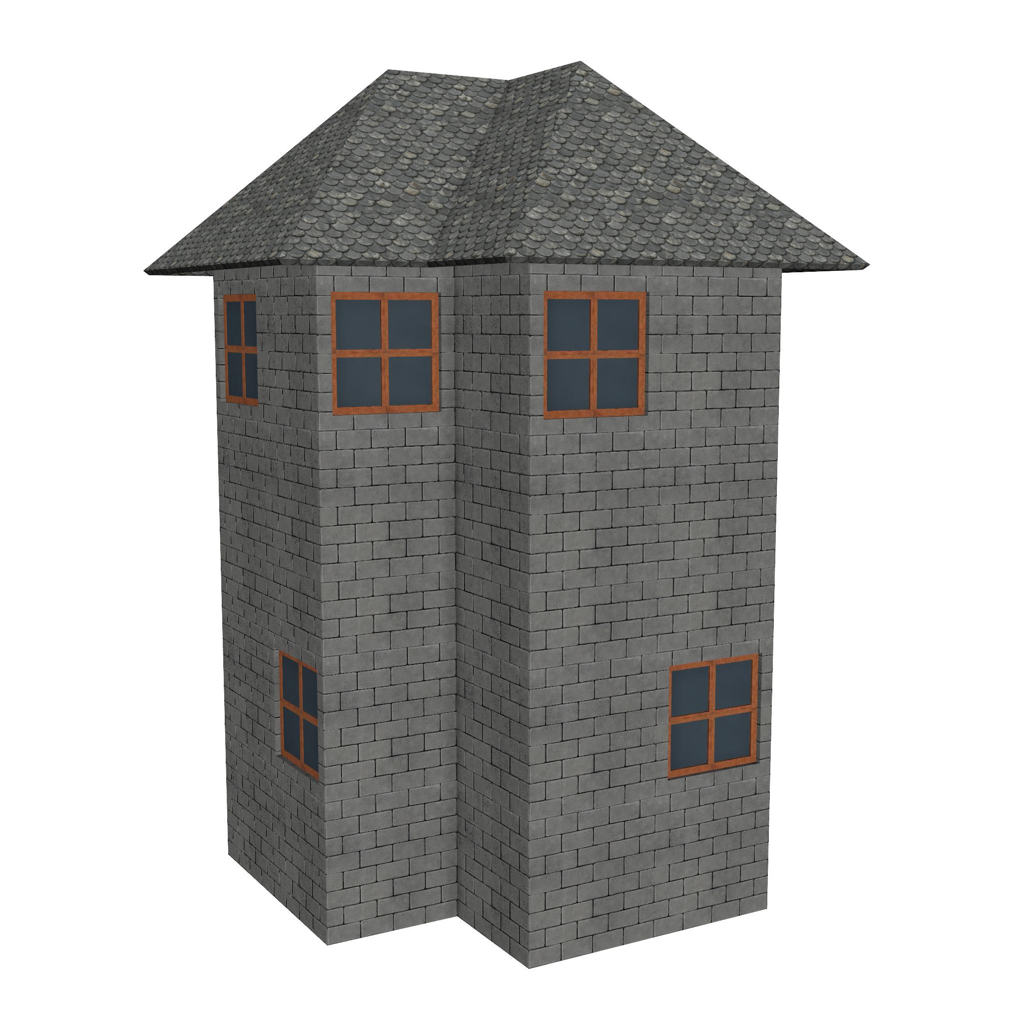 modular brick house set 3d model fbx ma mb 271396