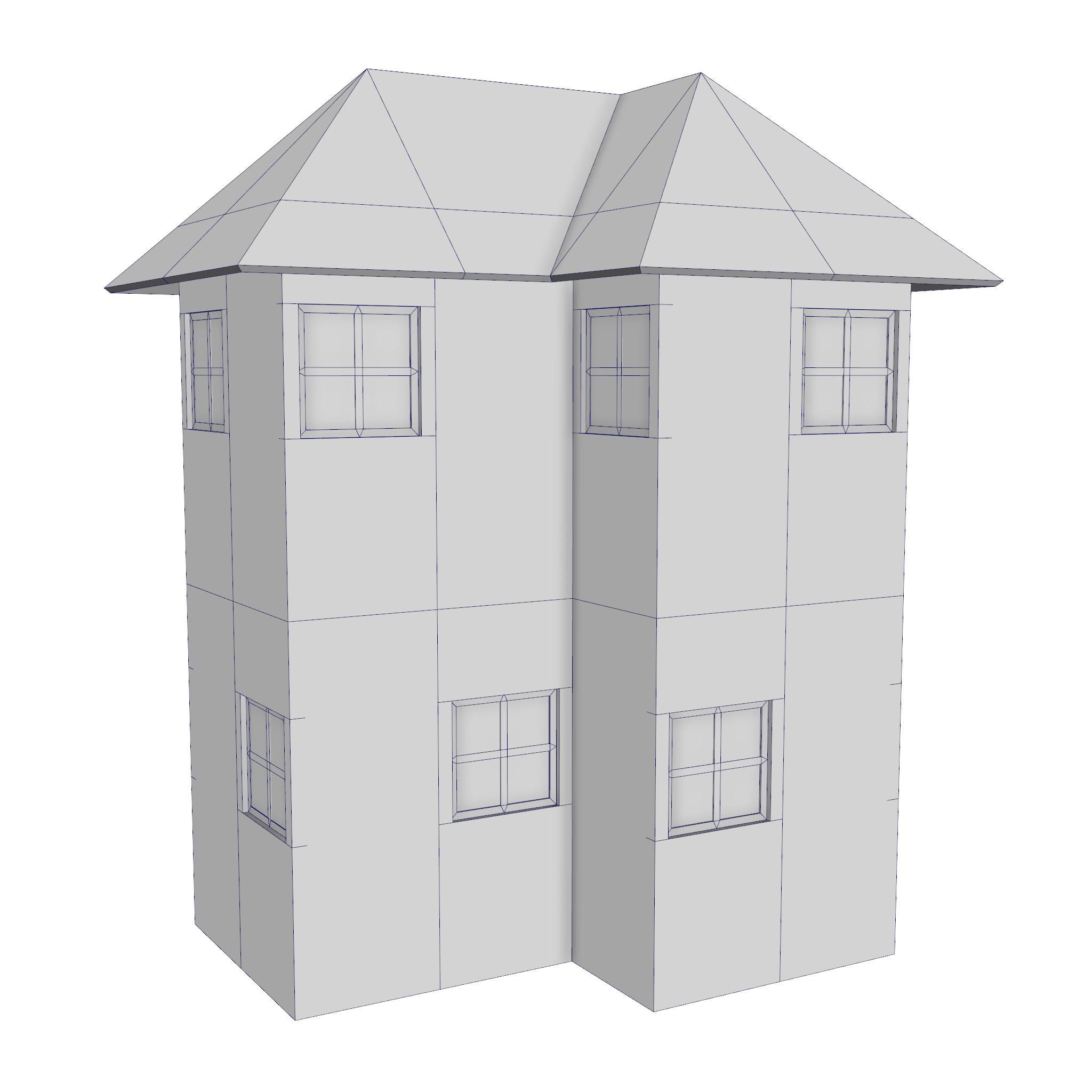 modular brick house set 3d model fbx ma mb 271397