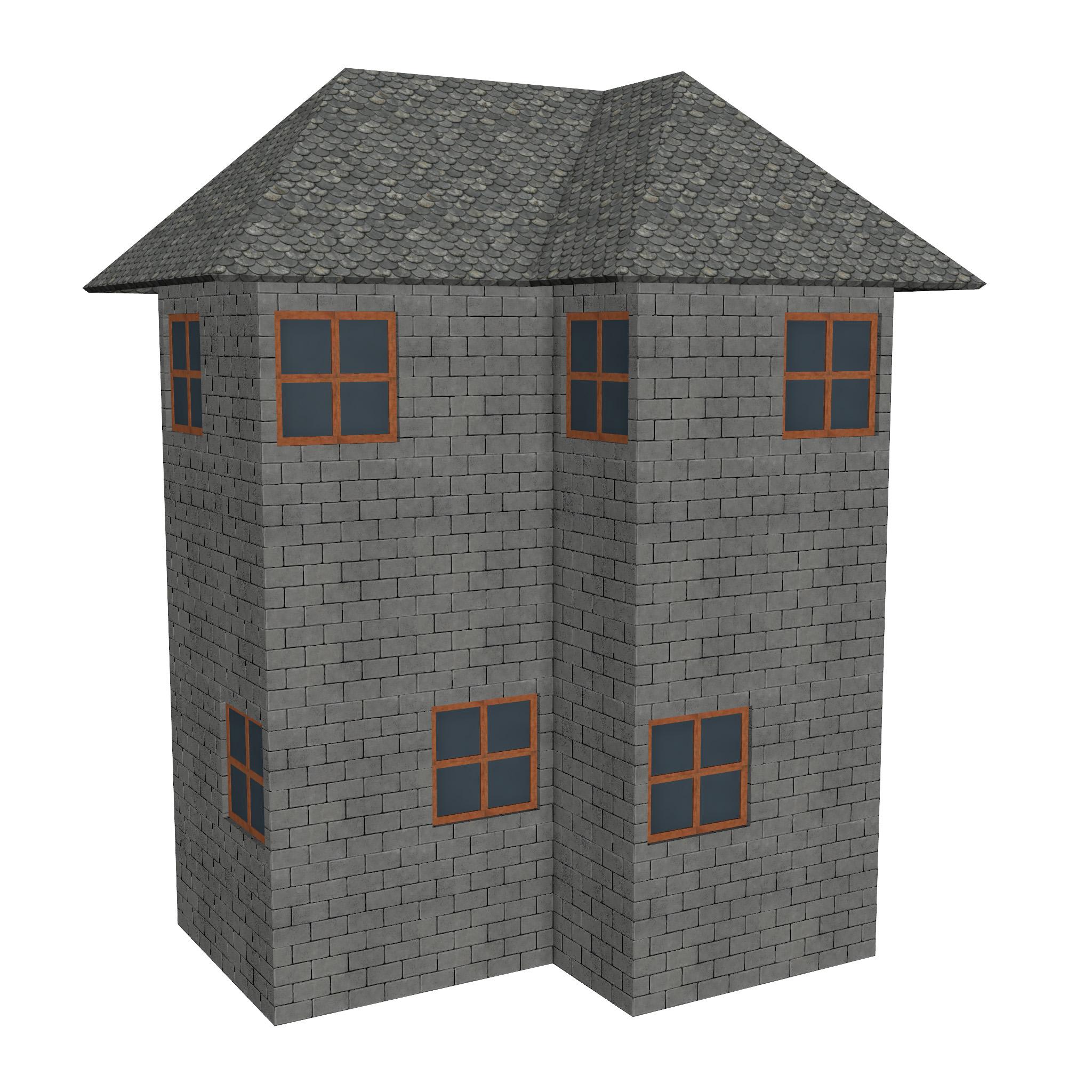modular brick house set 3d model fbx ma mb 271398