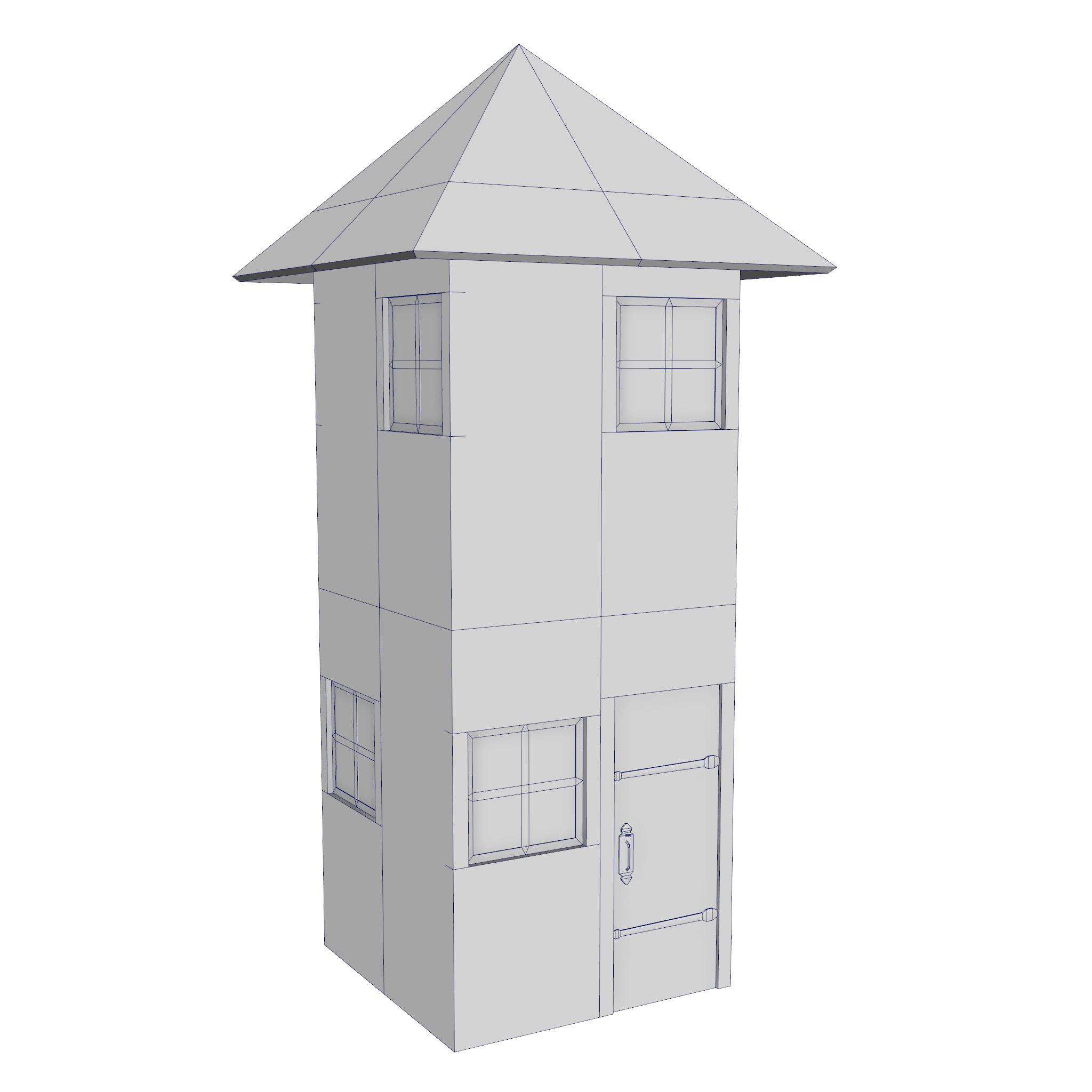 modular brick house set 3d model fbx ma mb 271399