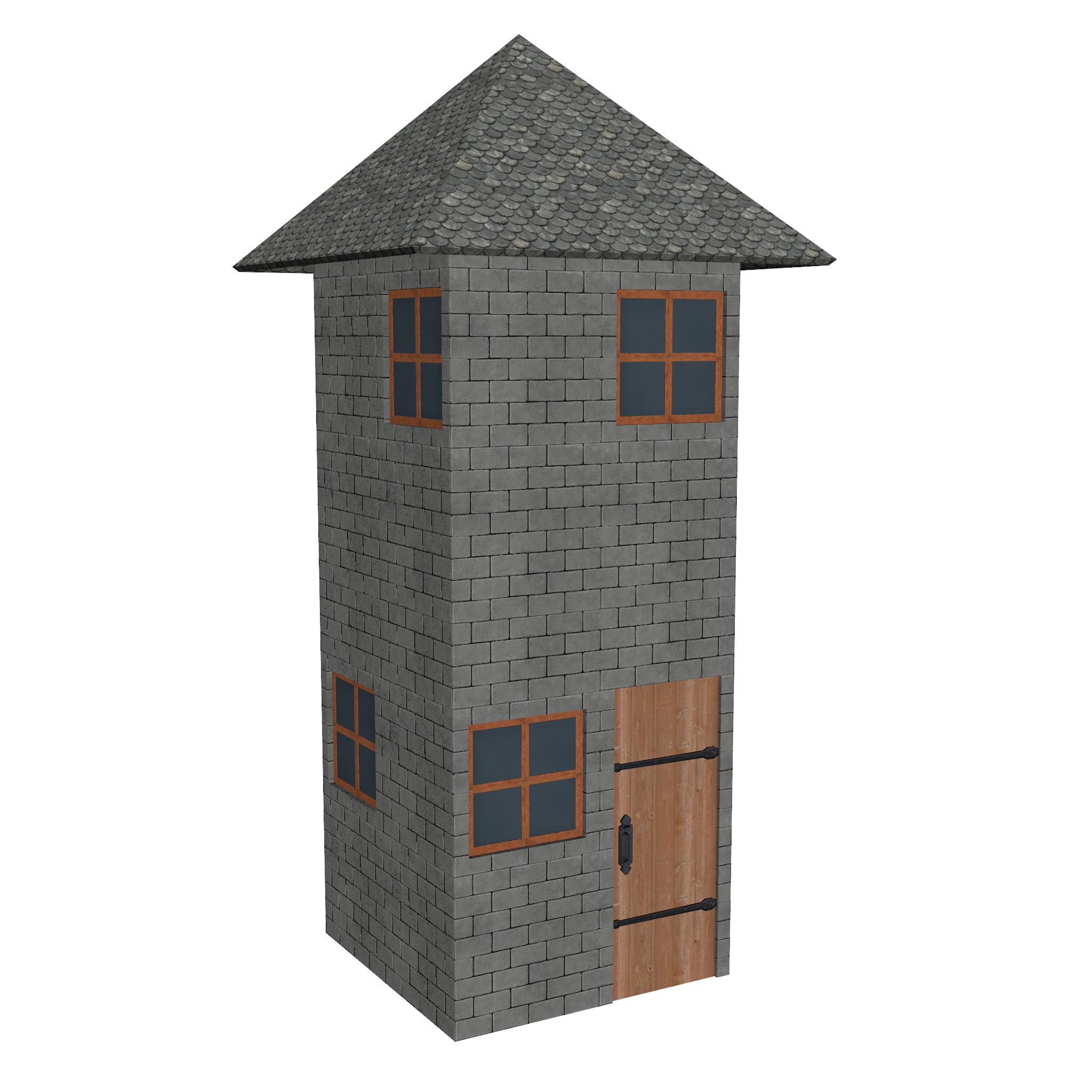 modular brick house set 3d model fbx ma mb 271400