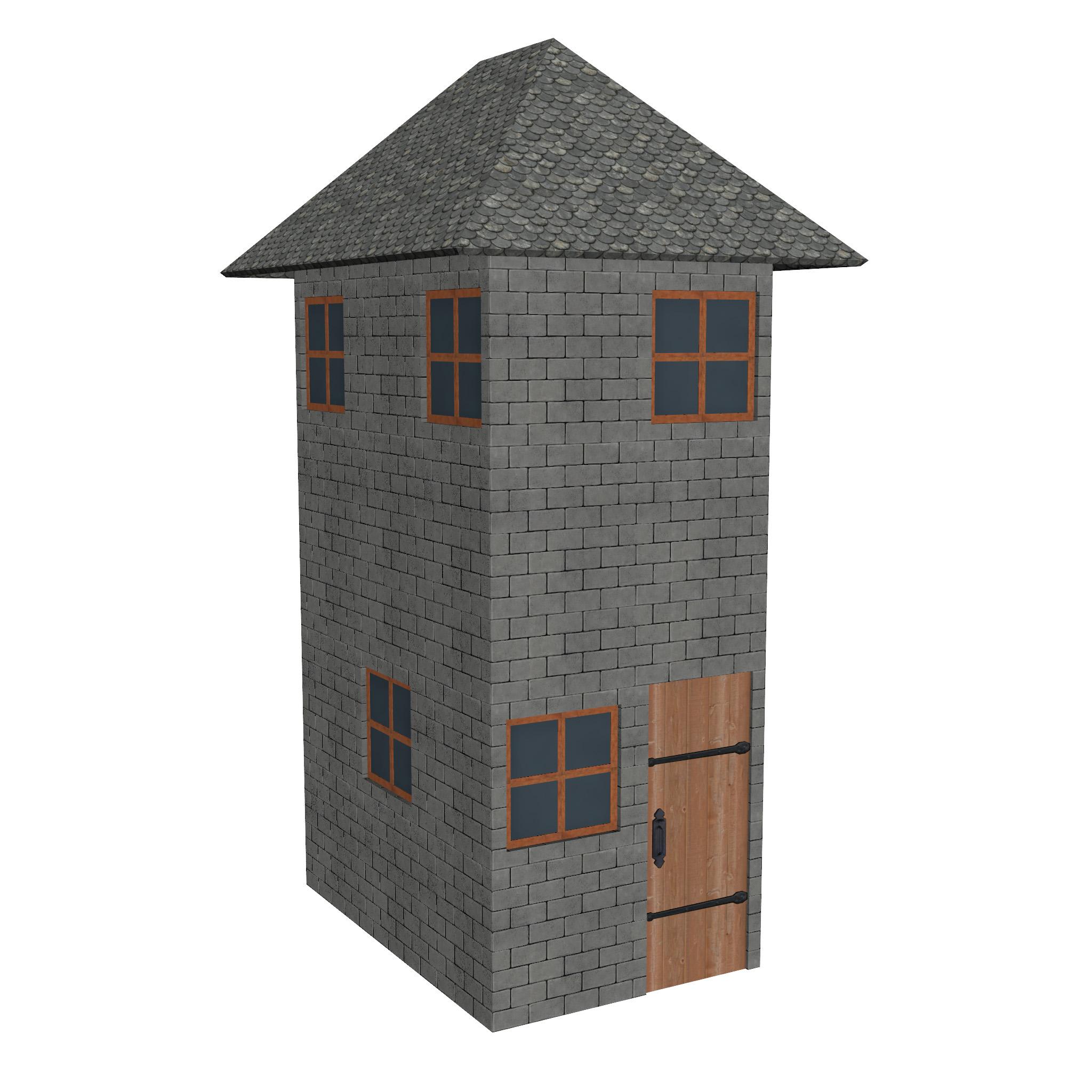 modular brick house set 3d model fbx ma mb 271402