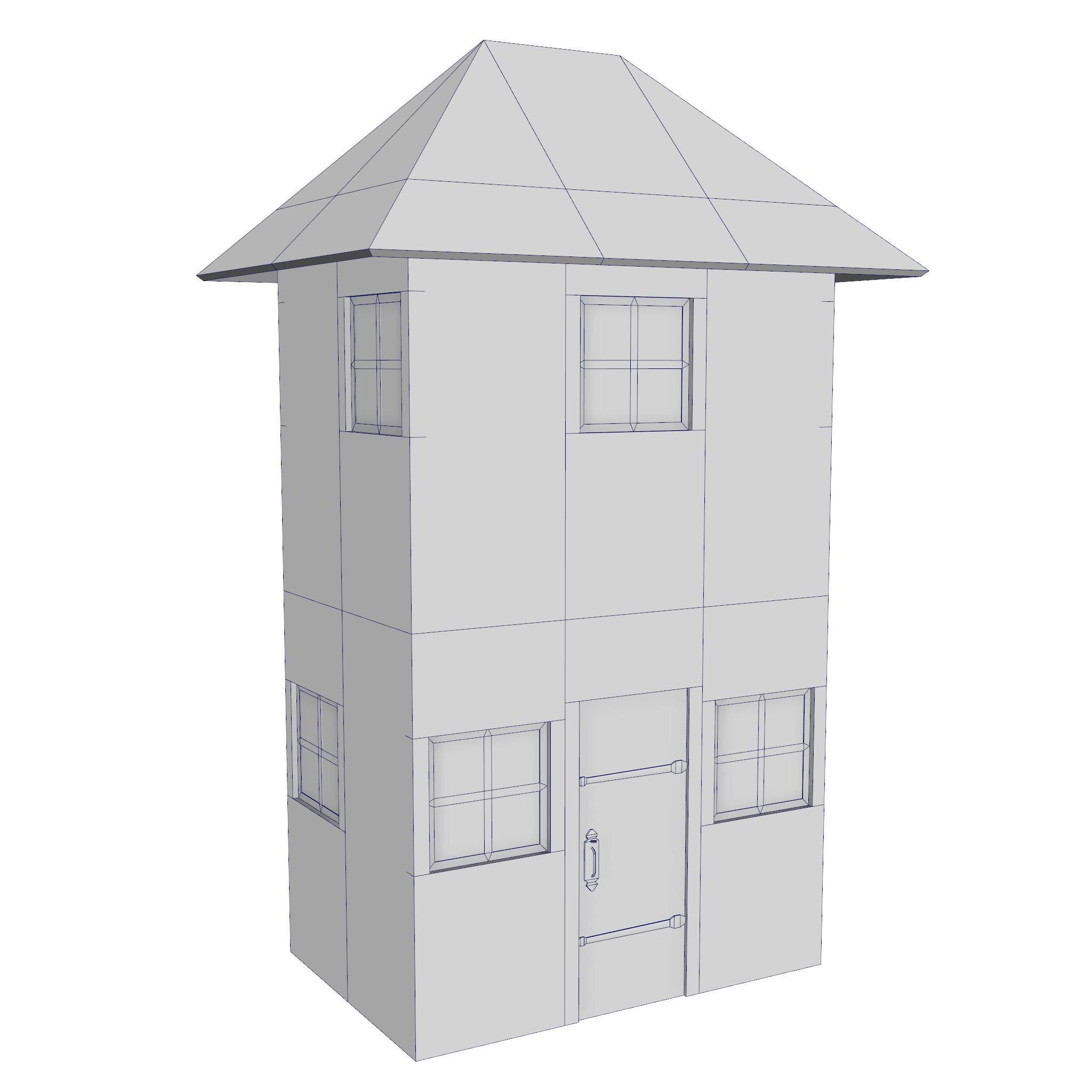 modular brick house set 3d model fbx ma mb 271403